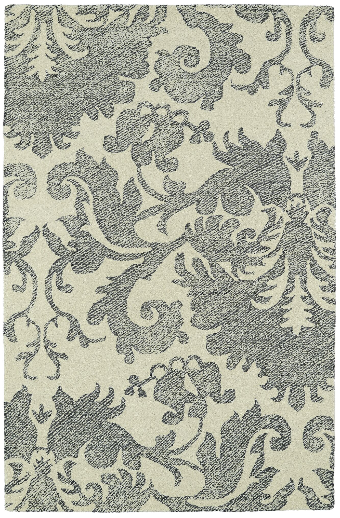 Rosalind Hand-Tufted Wool Beige/Gray Area Rug Rug Size: Rectangle 9' x 12'
