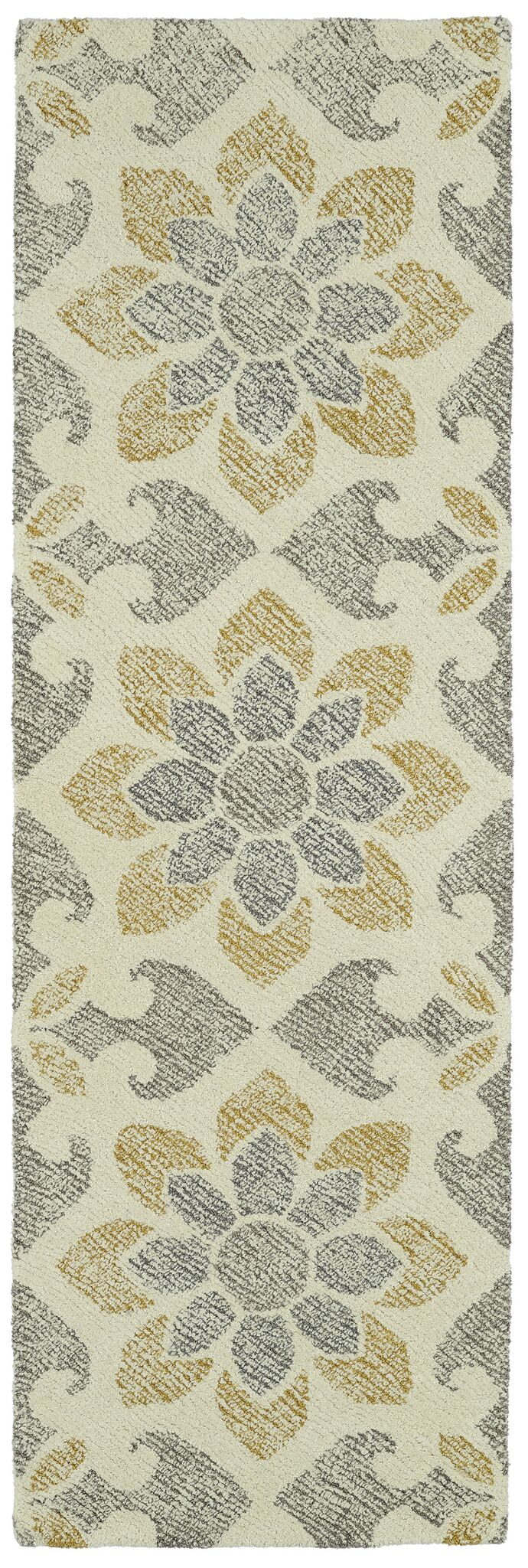 Rosalind Hand-Tufted Wool Gray/Yellow Area Rug Rug Size: Runner 2'6