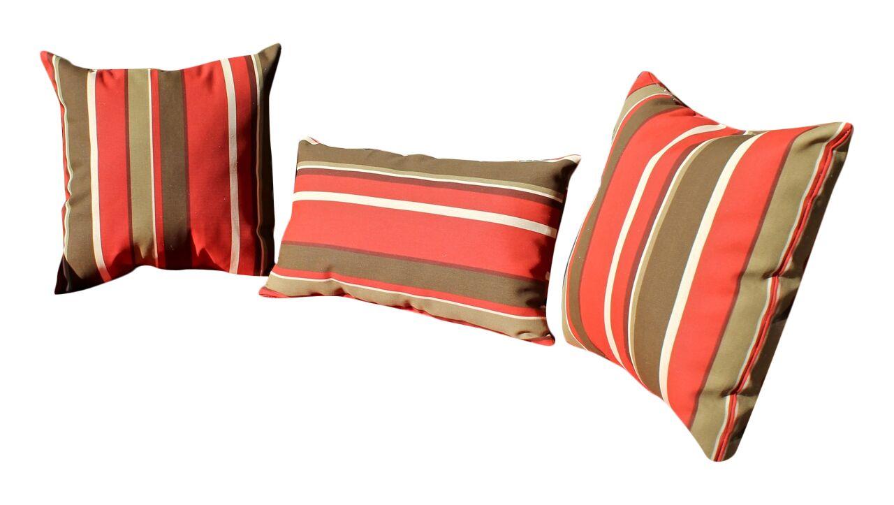 Brisbin 3 Piece Striped Pattern Outdoor Throw/Lumbar Pillow Set Color: Monserat Sangria
