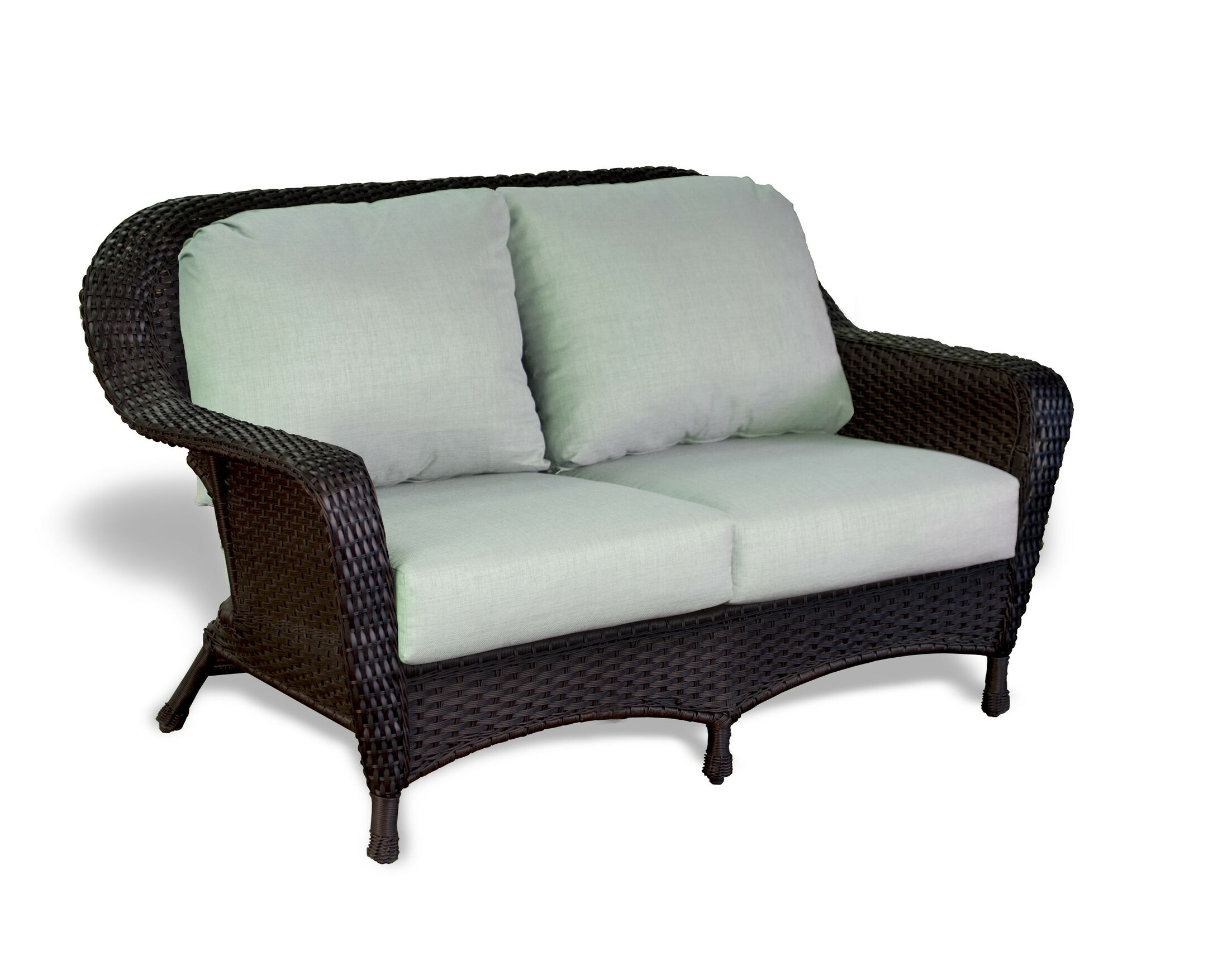 Fleischmann Loveseat Finish: Mojave, Fabric Color: Sunbrella Spectrum Cilantro