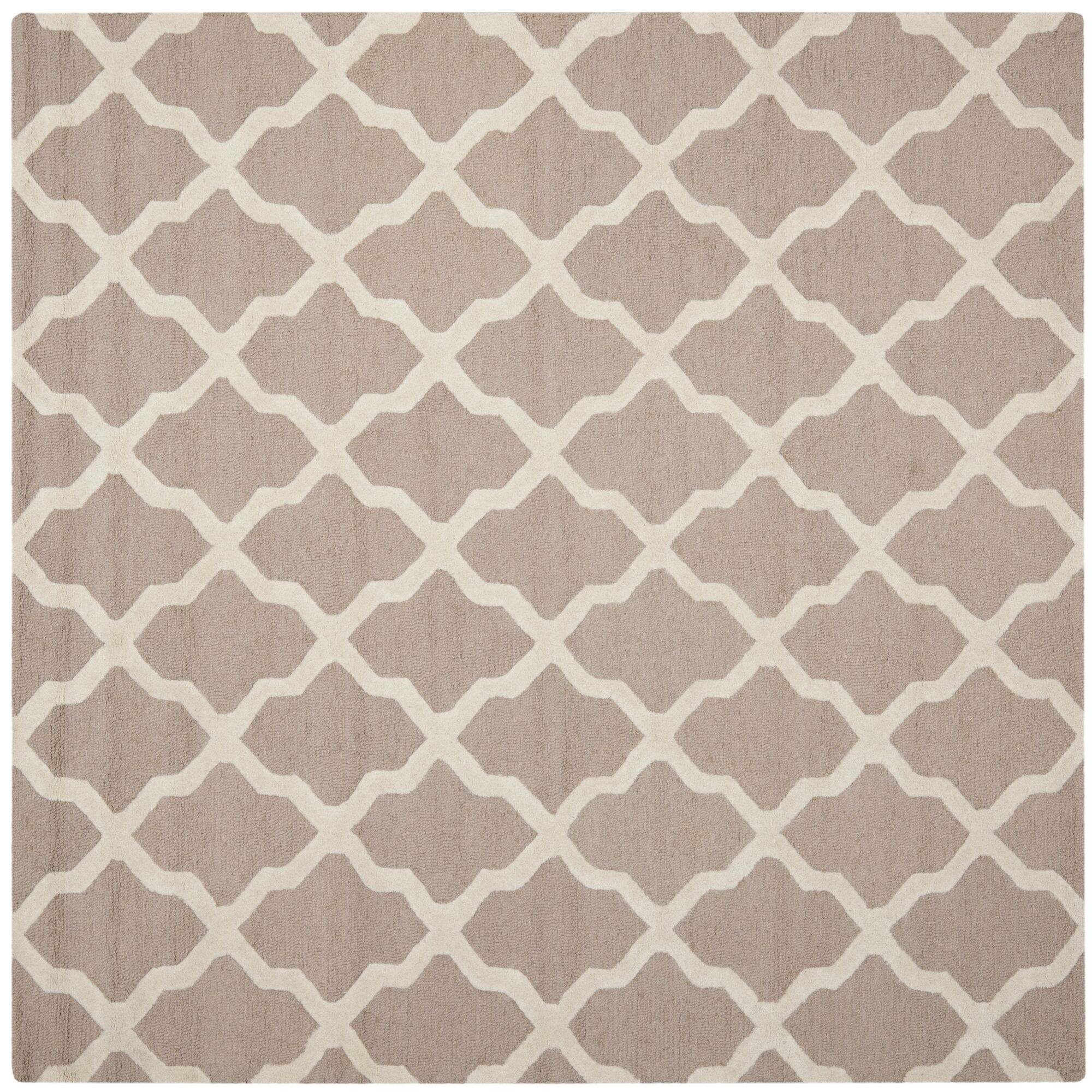 Kirschbaum Hand-Woven Wool Area Rug Rug Size: Square 6', Finish: Beige