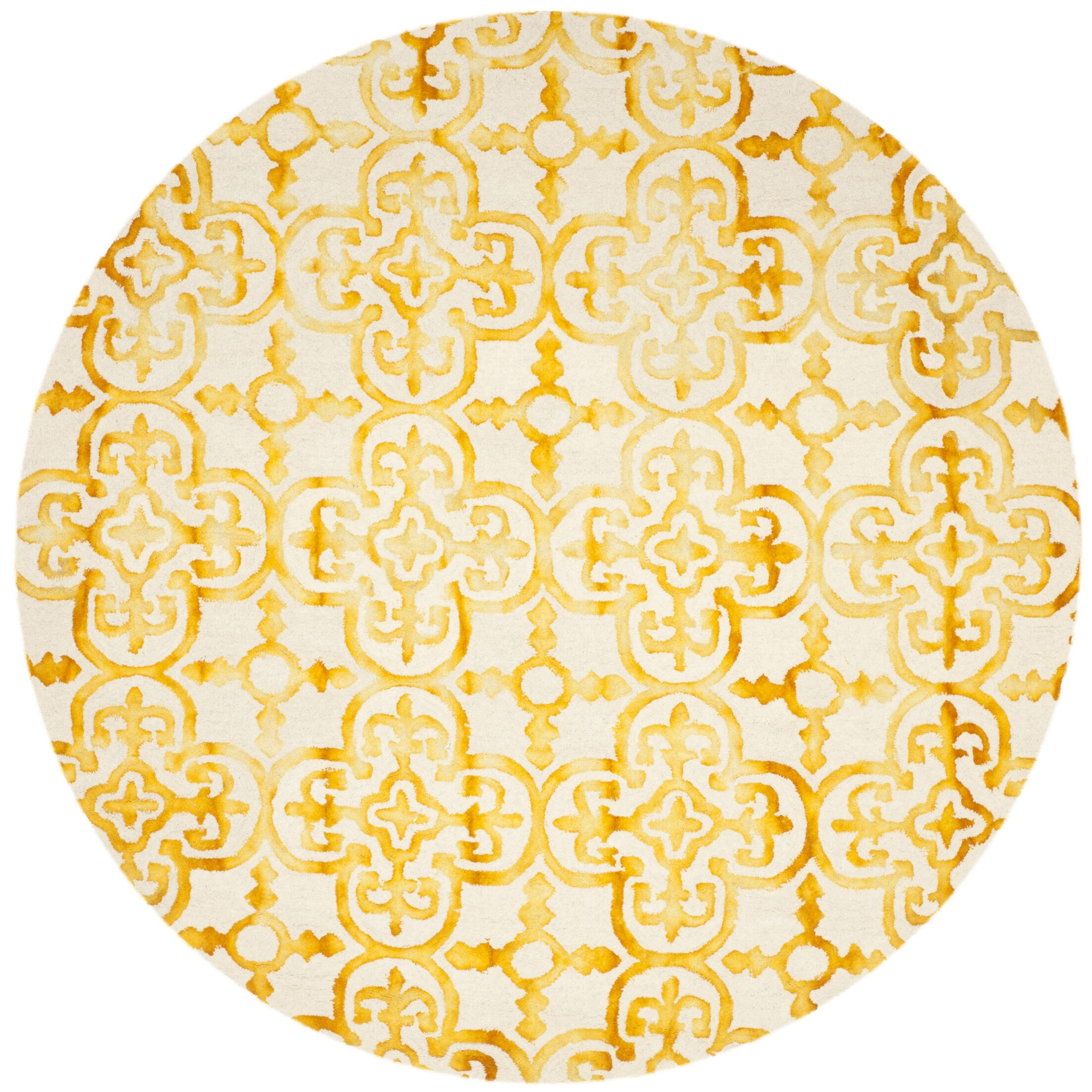 Naples Park Hand-Tufted Yellow Area Rug Rug Size: Round 7'