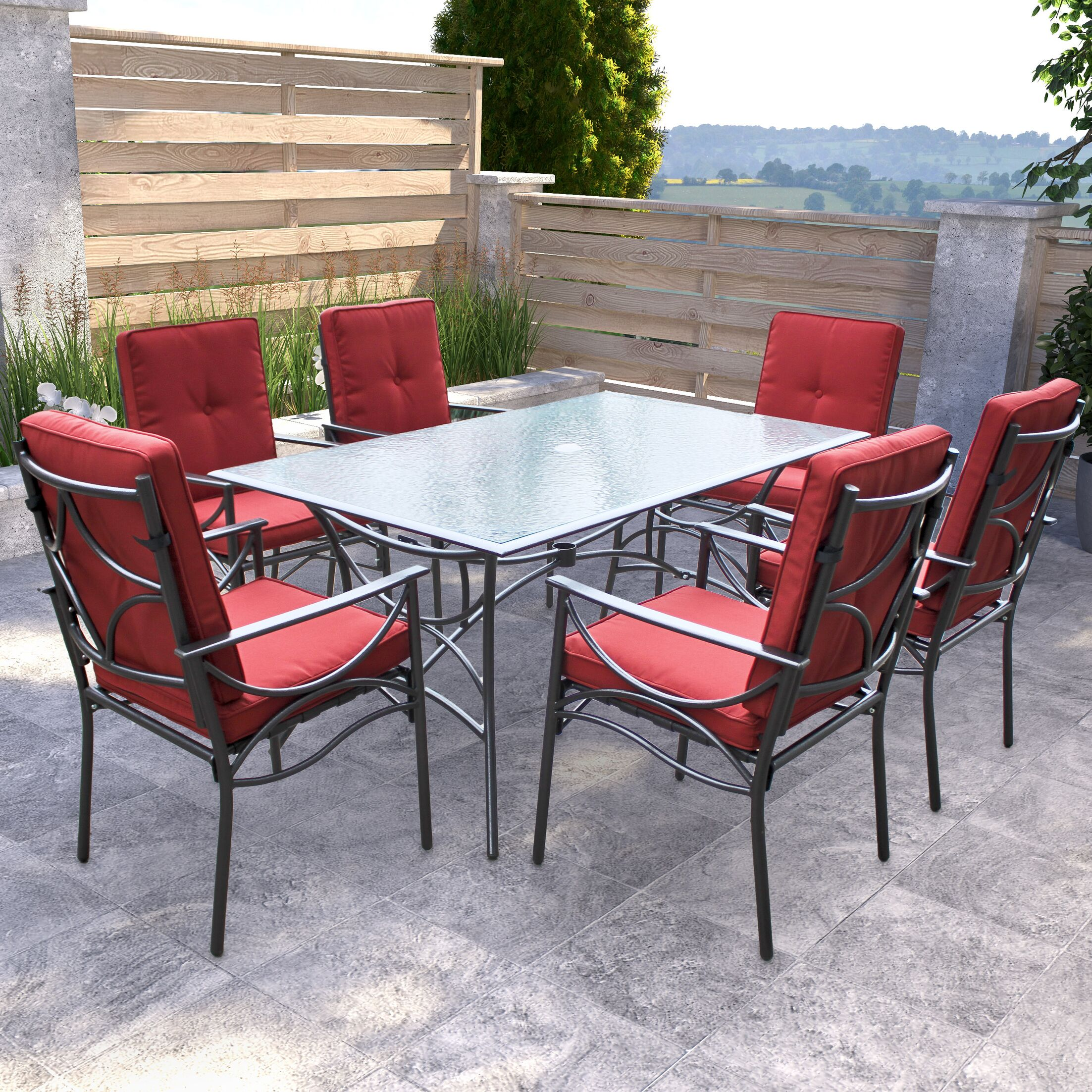 Oliver 7 Piece Dining Set with Cushions