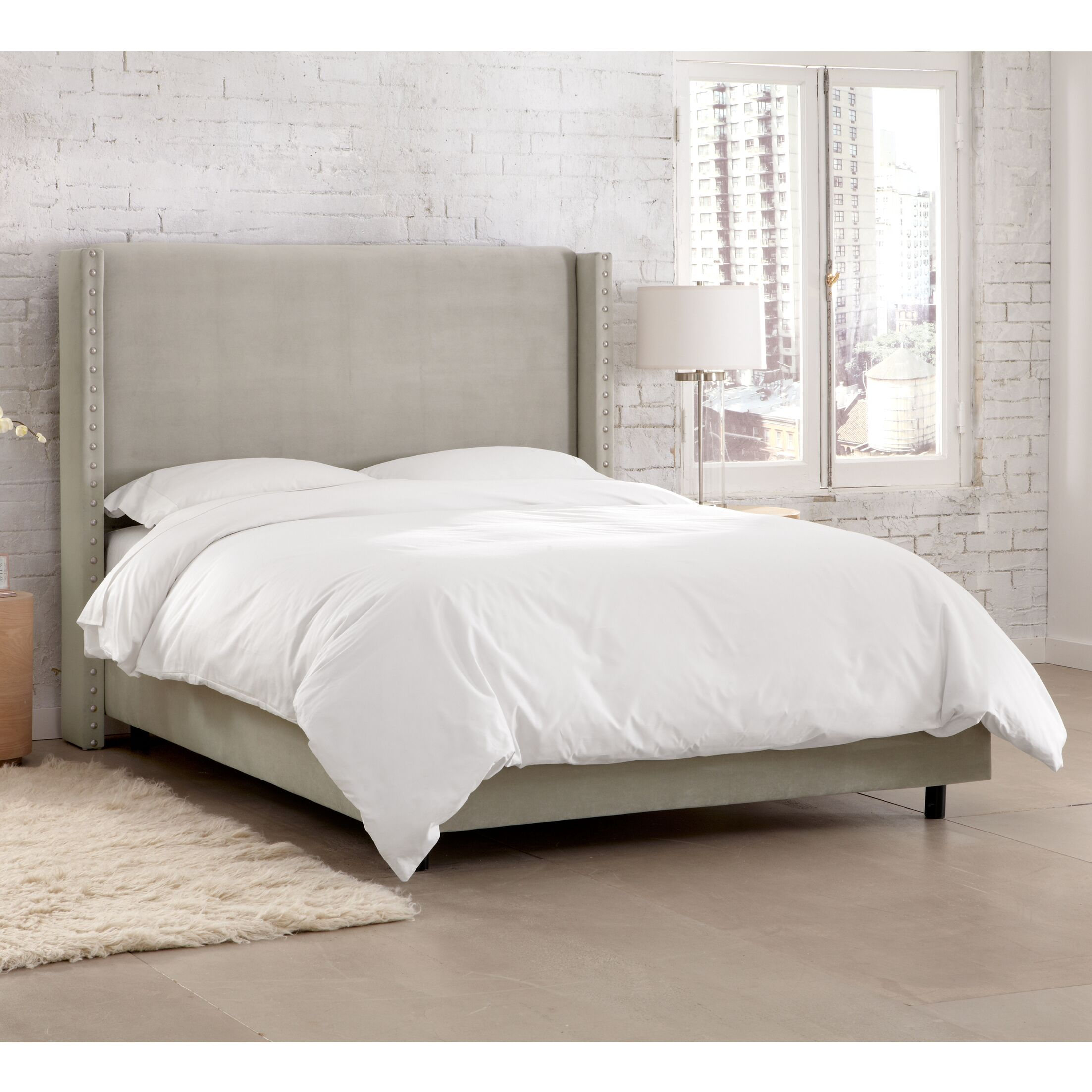 Peoria Upholstered Panel Bed Size: Queen, Color: Light Grey