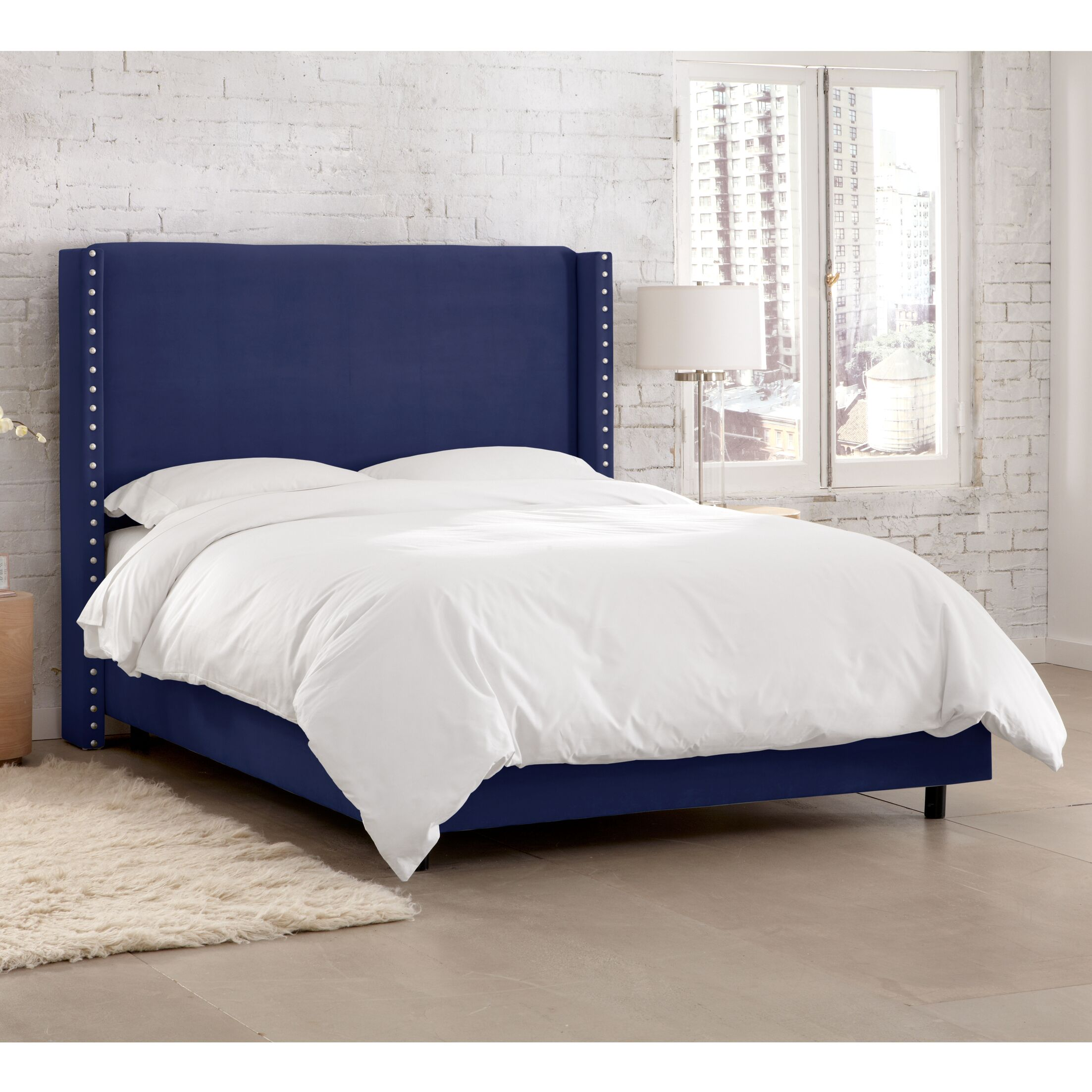 Peoria Upholstered Panel Bed Size: California King, Color: Navy