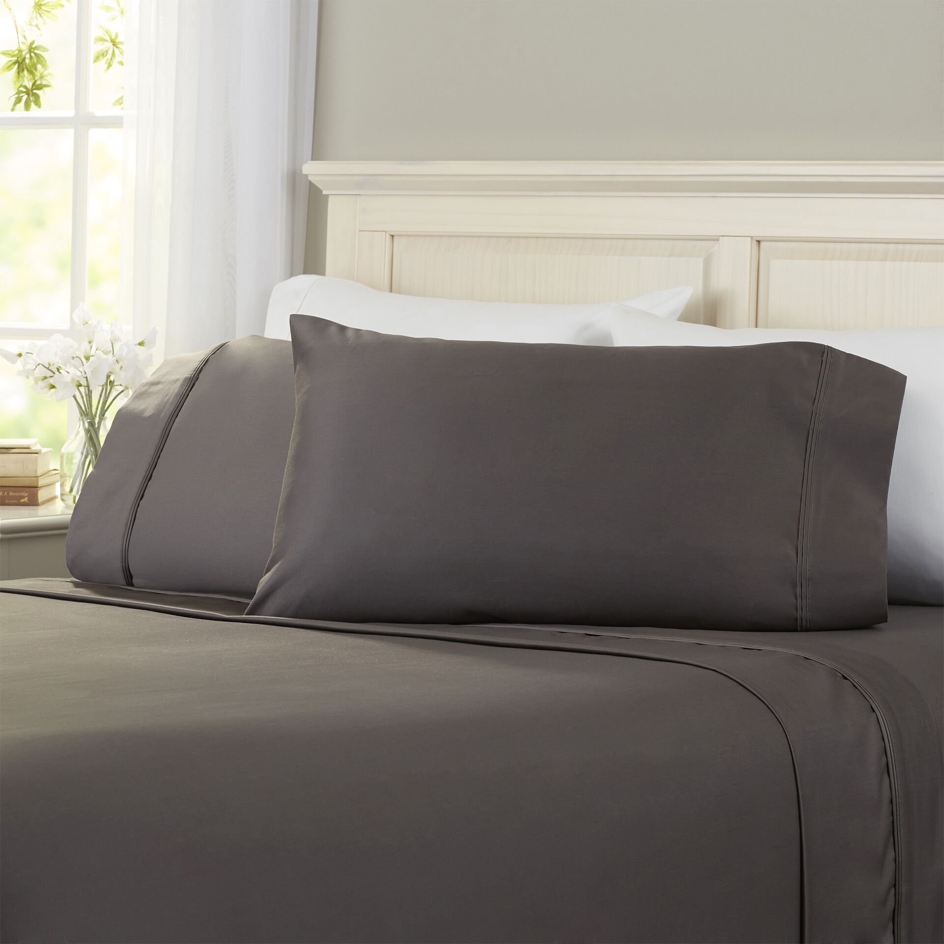 Superior 1200 Thread Count 100% Cotton Sheet Set Size: King, Color: Charcoal