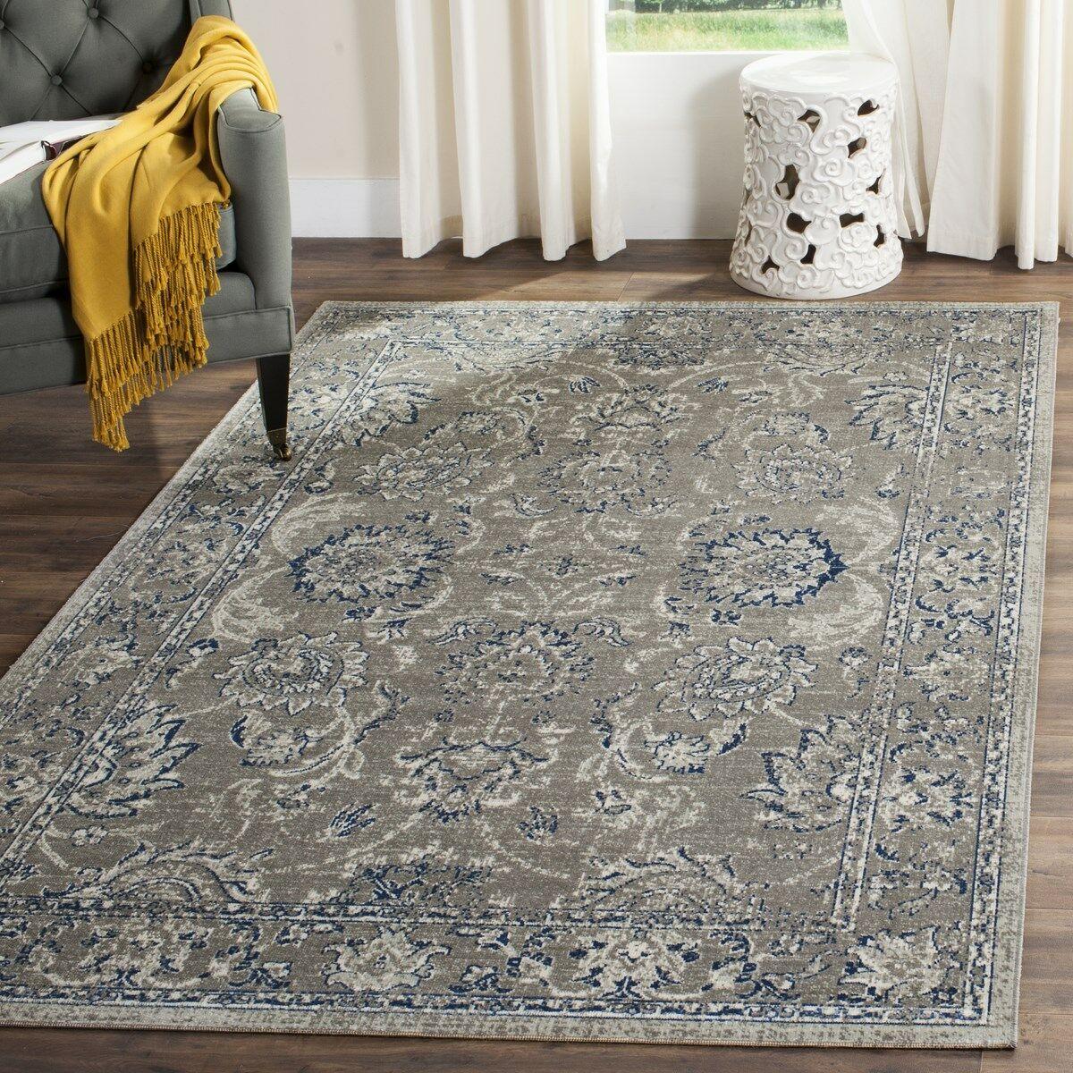 Harwood Cotton Dark Gray/Blue Area Rug Rug Size: Rectangle 10' x 14'
