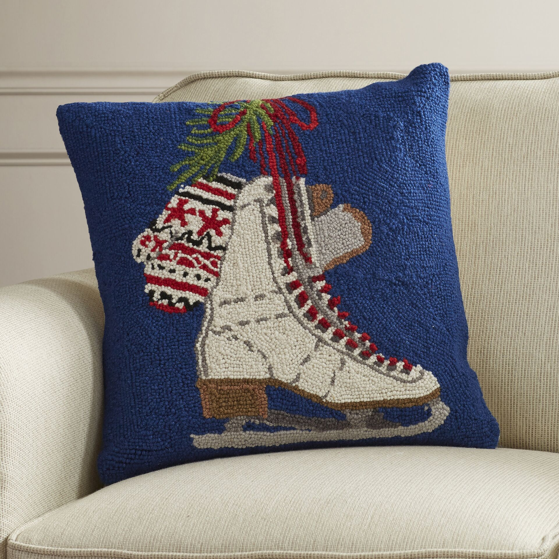 Scheuerman Ices Skates Hook Wool Throw Pillow