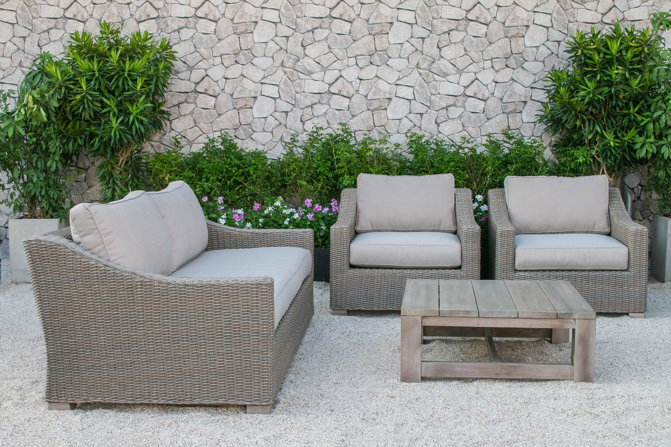 Naperville 4 Piece Sofa Set with Cushions