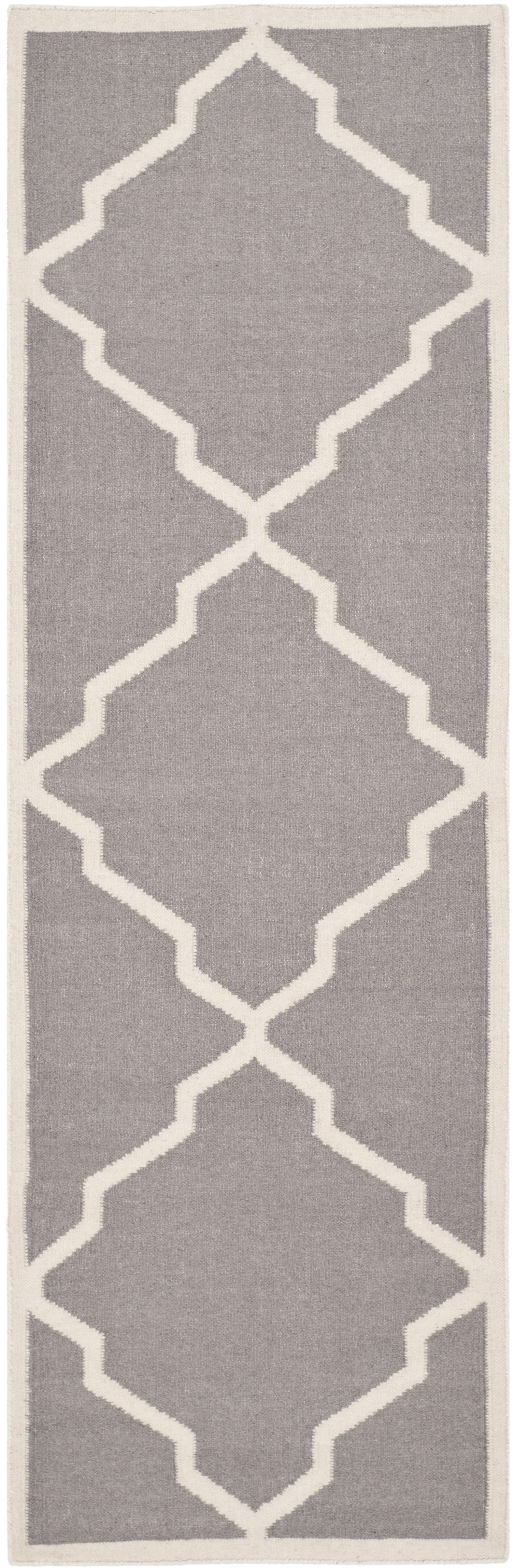 Brambach Hand-Woven Wool Grey/Ivory Area Rug Rug Size: Runner 2'3