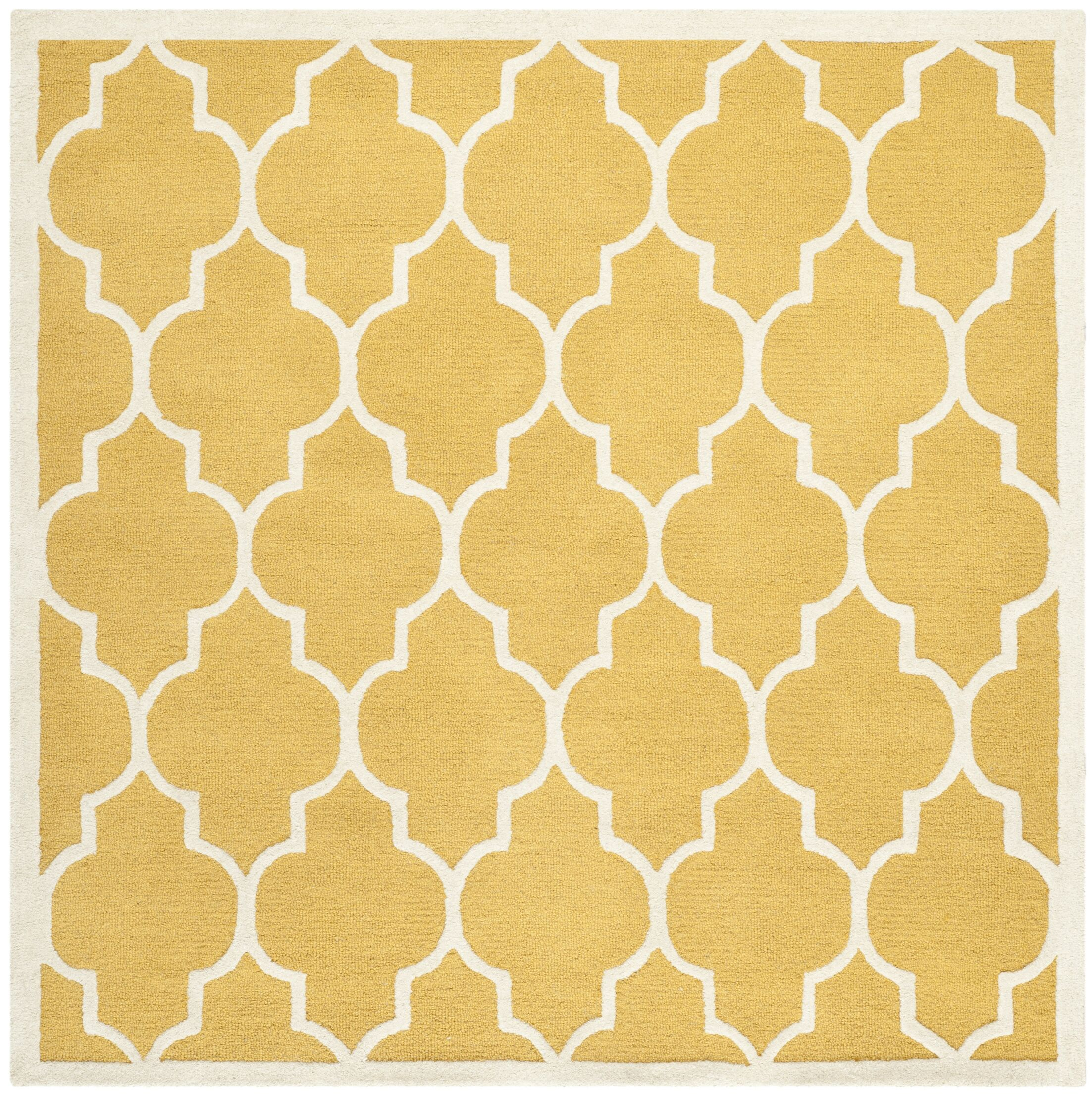 Parker Lane Hand-Tufted Wool Gold/Ivory Area Rug Rug Size: Square 6'