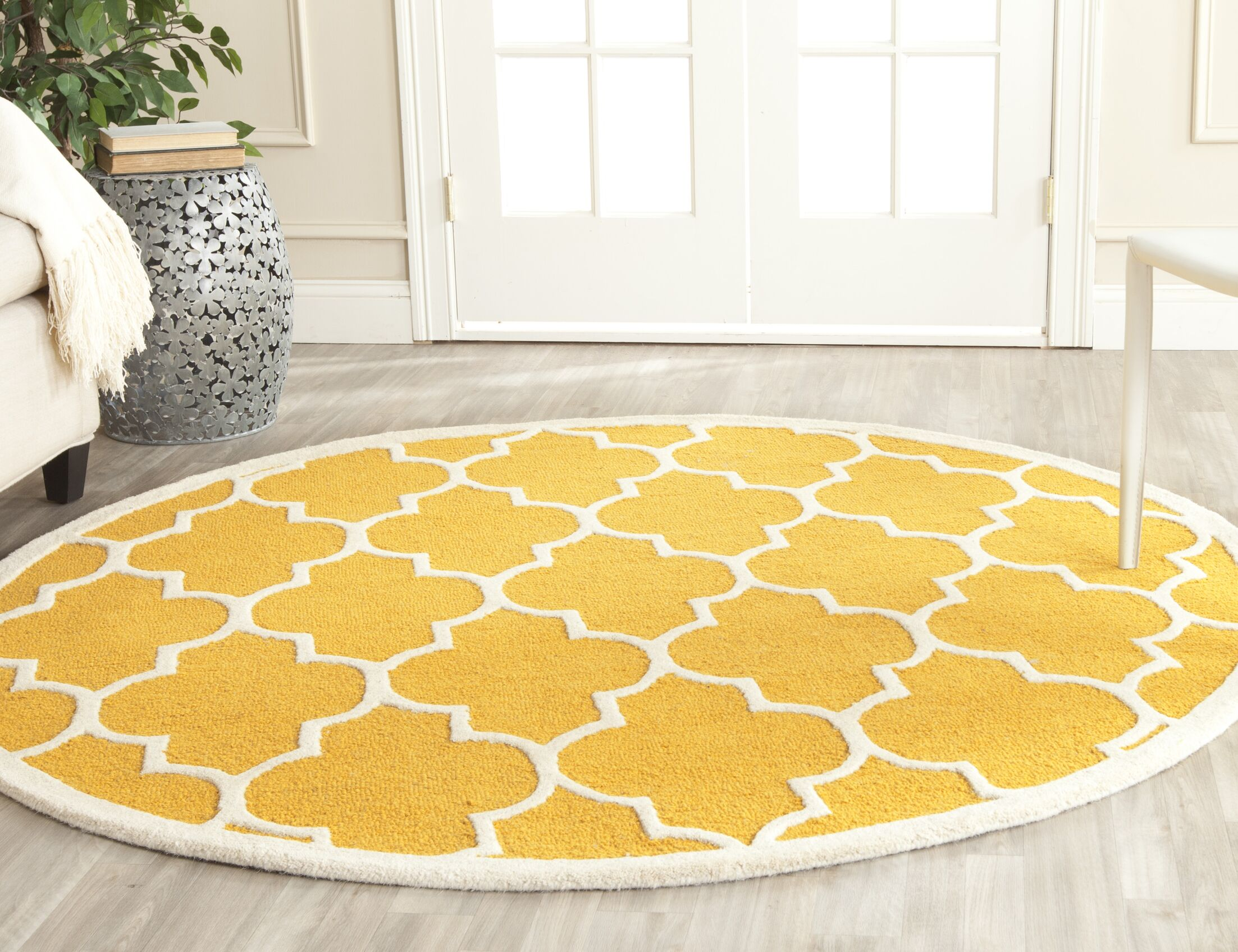 Parker Lane Hand-Tufted Wool Gold/Ivory Area Rug Rug Size: Square 8'