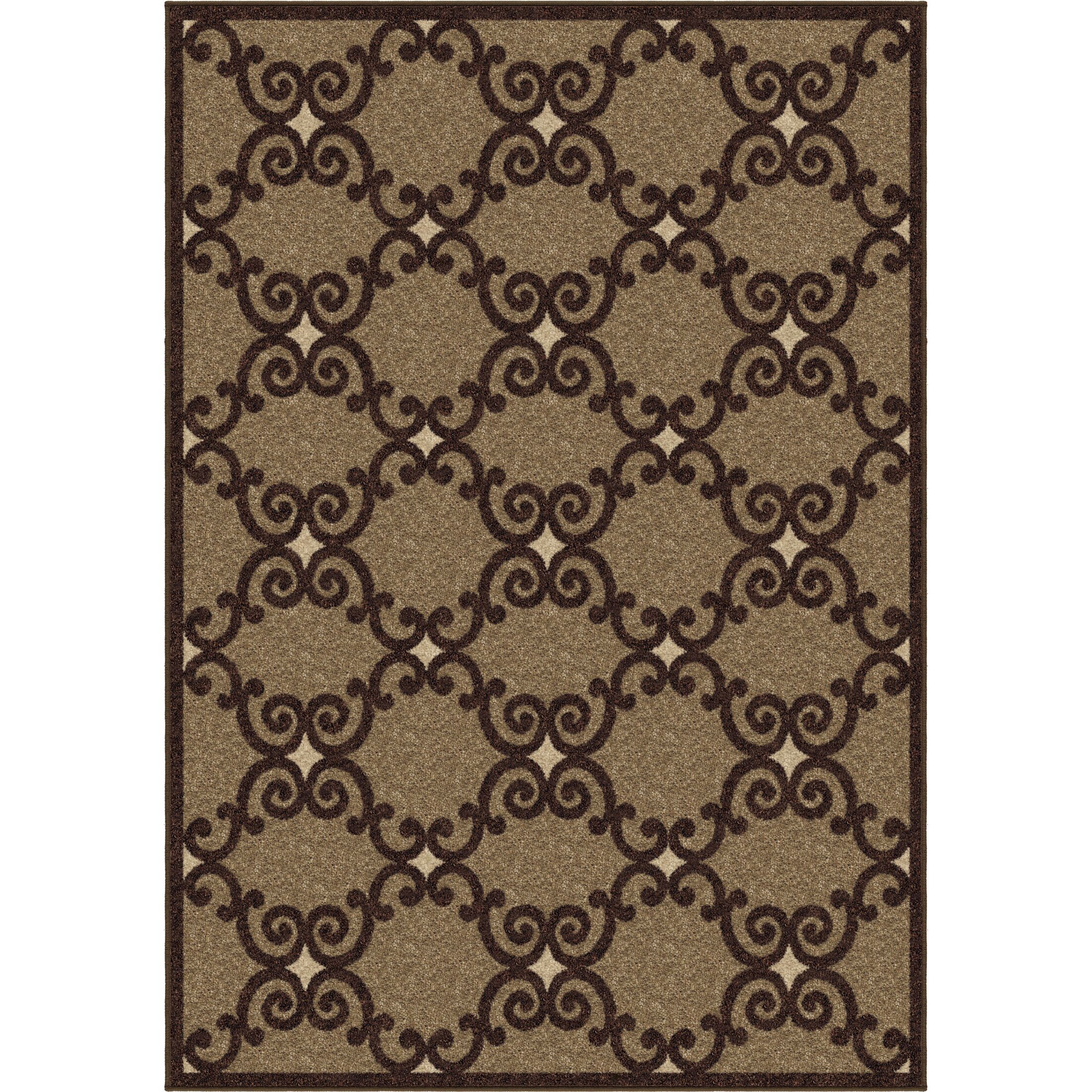 Plaines Brown Area Rug Rug Size: 5'3