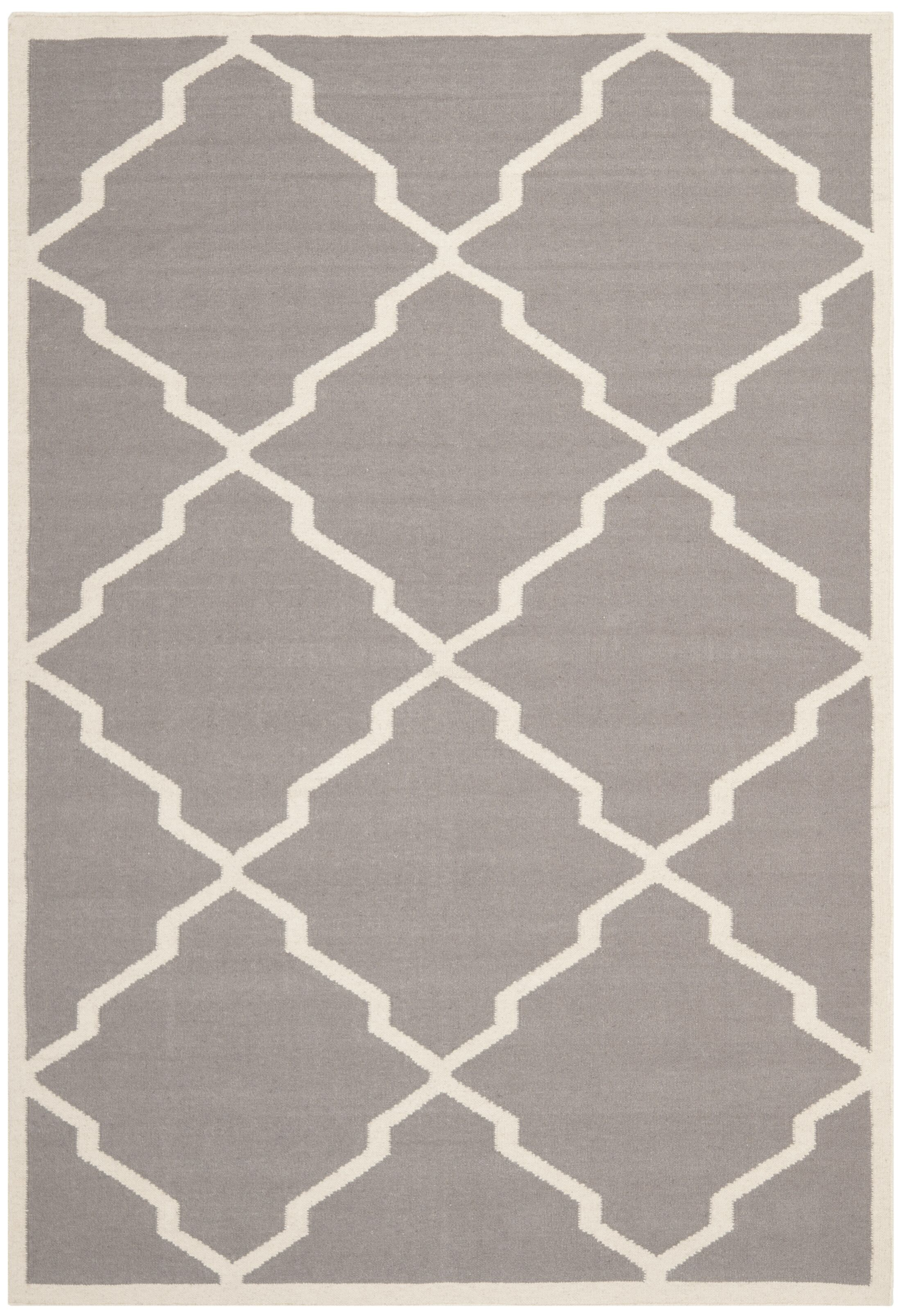 Brambach Hand-Woven Wool Grey/Ivory Area Rug Rug Size: Rectangle 9' x 12'