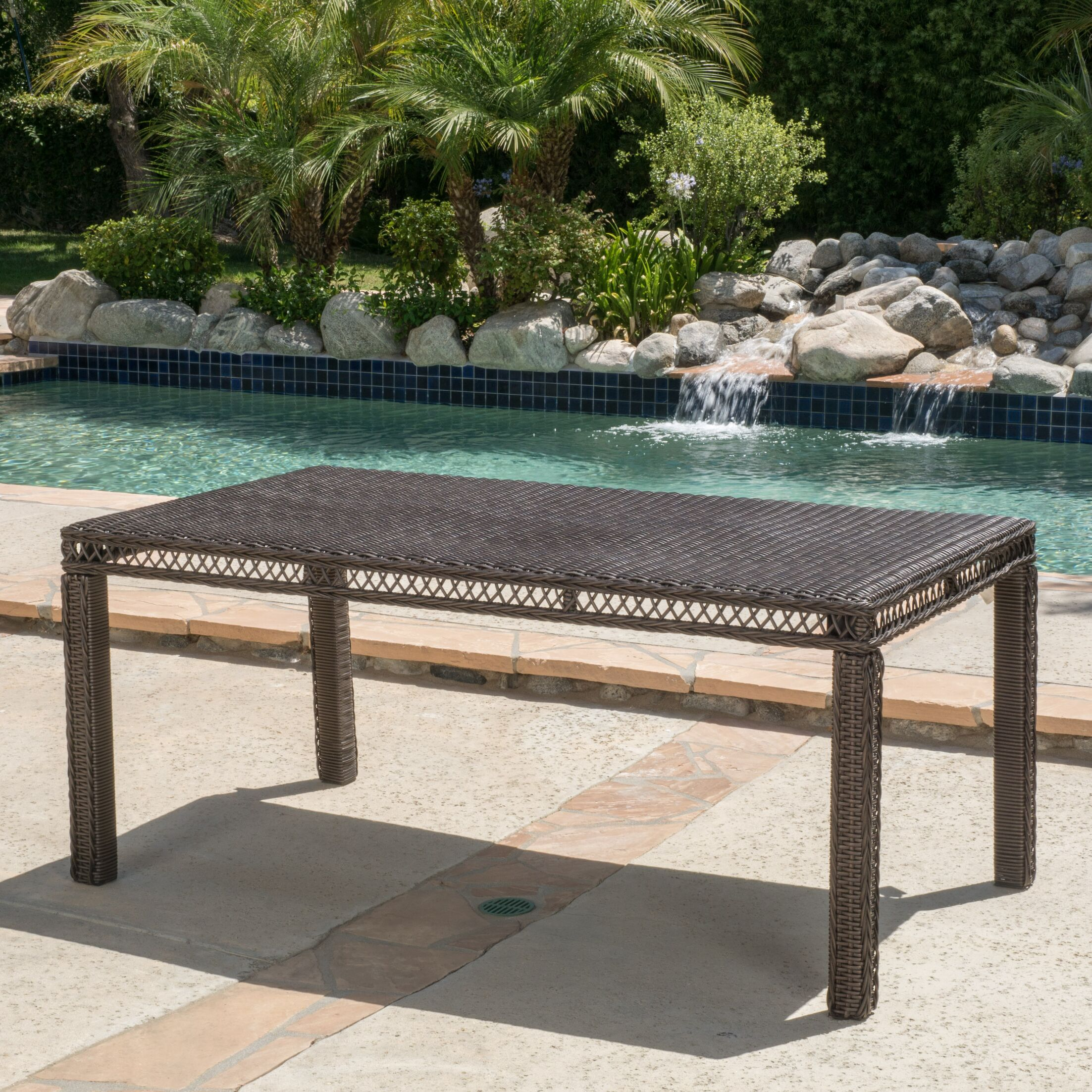 Made from sturdy polyethylene wicker and an iron frame, this large table will be perfect for your outdoor gatherings. Features: -Contemporary style.-Material: PE wicker and iron.-Outdoor use.-Product Type: Dining Table.-Outer Frame Material: Metal -Ou...
