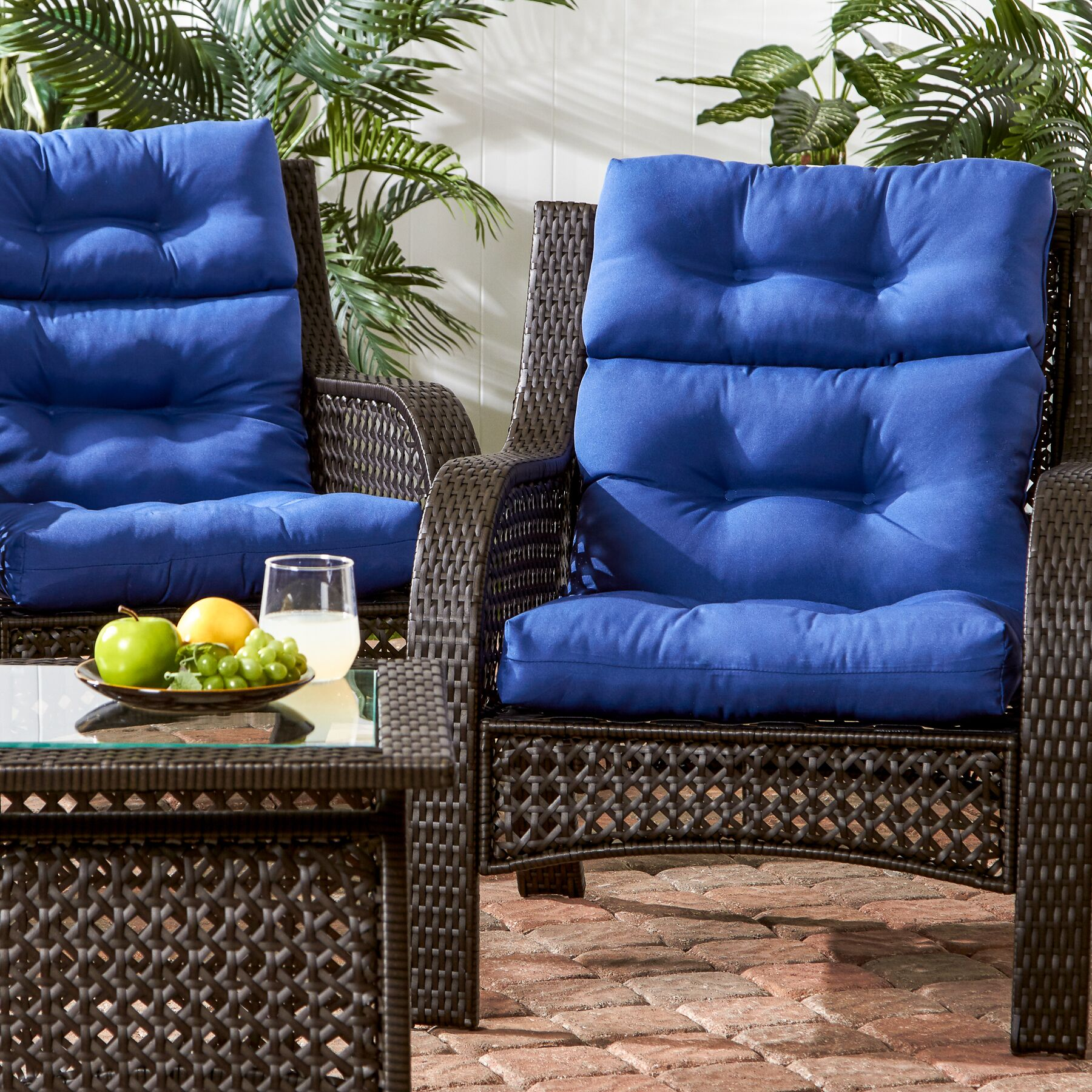Sarver Indoor/Outdoor High Back Chair Cushion Fabric: Marine Blue