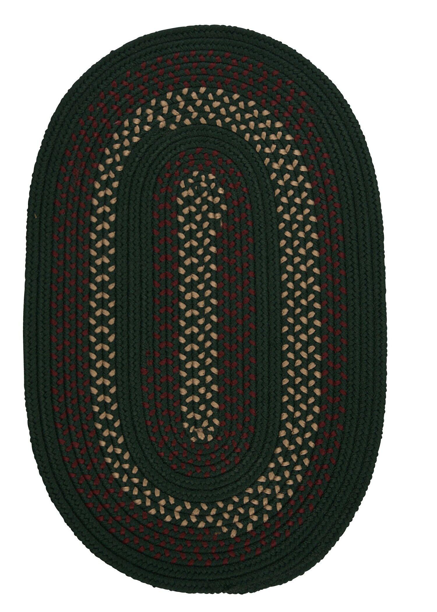 Omaha Hunter Green Indoor/Outdoor Area Rug Rug Size: Oval 7' x 9'
