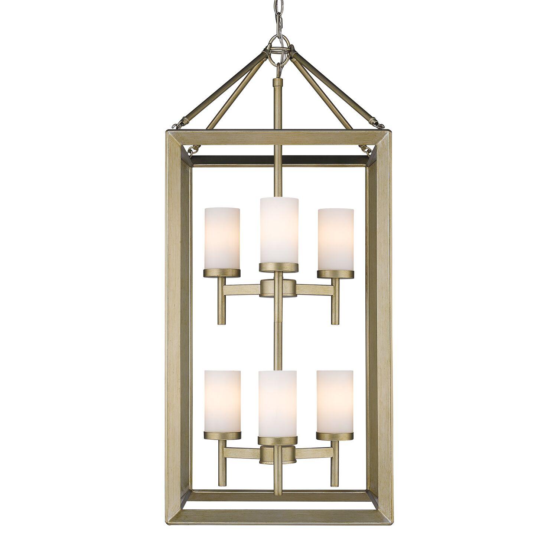 Thorne 6-Light Hanging Foyer Pendant Shade Color: Opal, Finish: White Gold