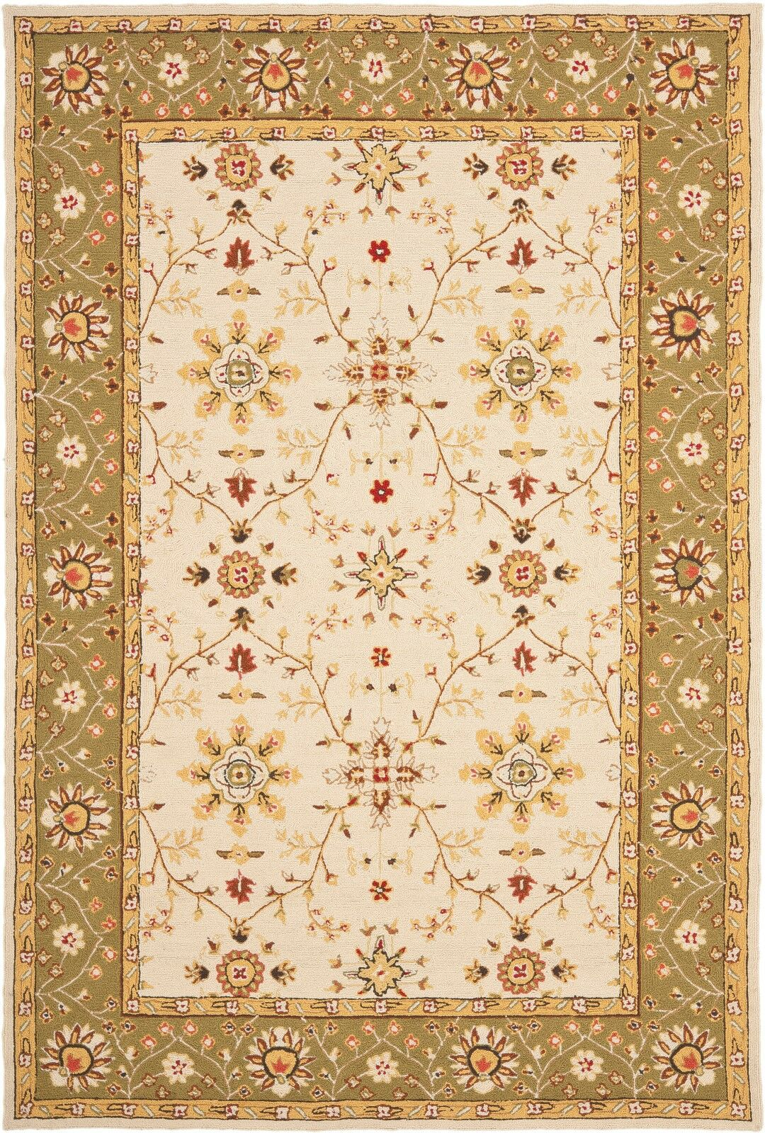 Lakeview Hand-Hooked Ivory/Green Area Rug