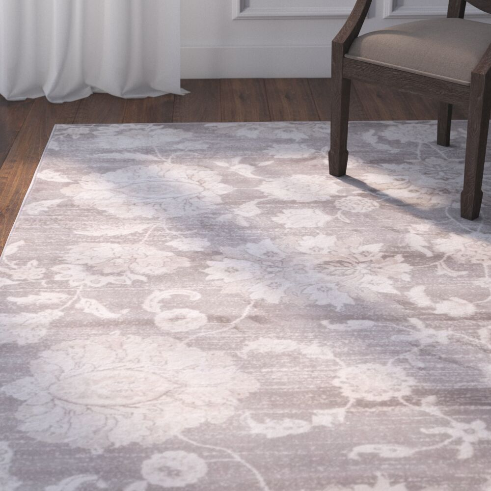 Adelaide Gray / Ivory Area Rug Rug Size: Rectangle 5'1