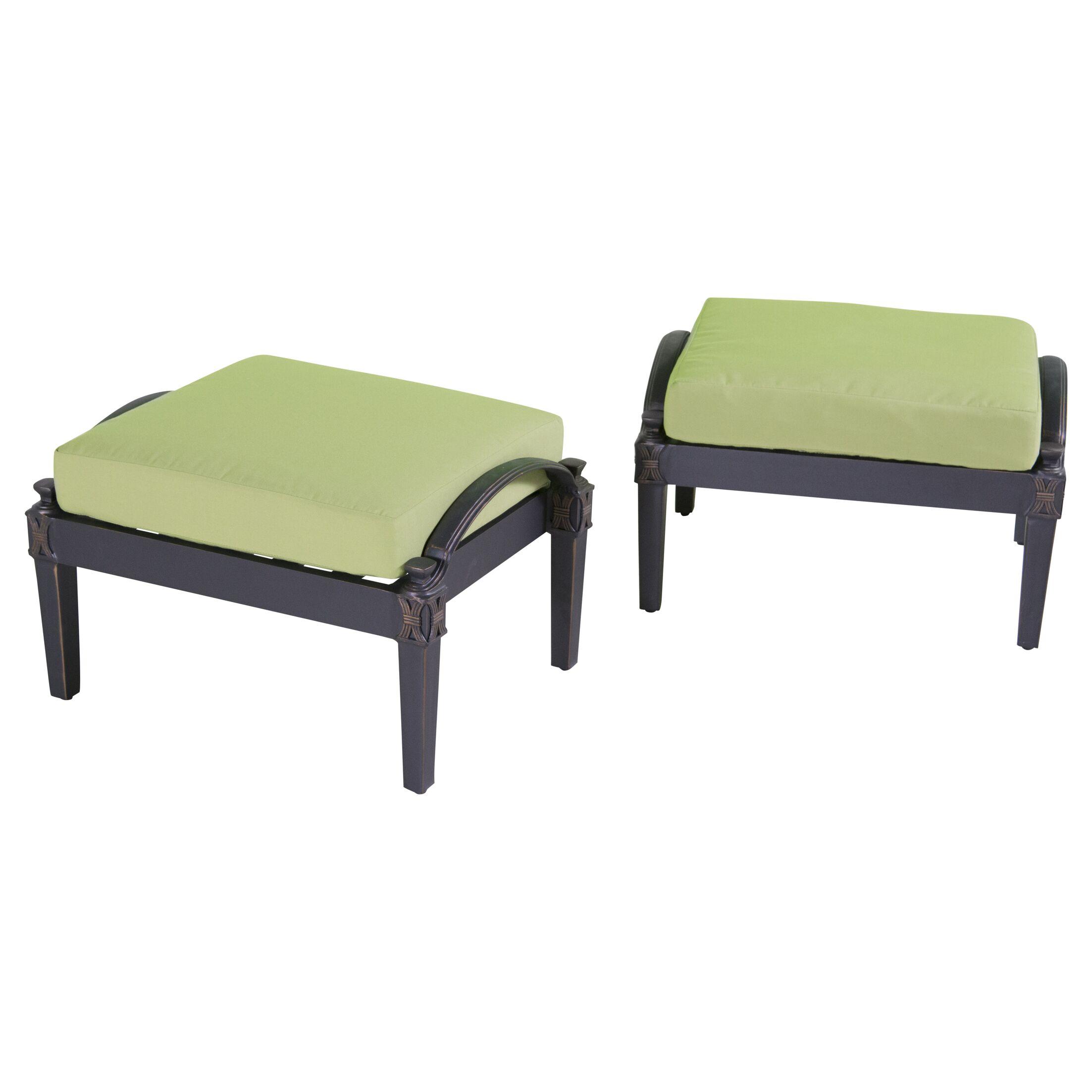 Portsmouth Club Ottoman with Cushion Fabric: Ginkgo Green