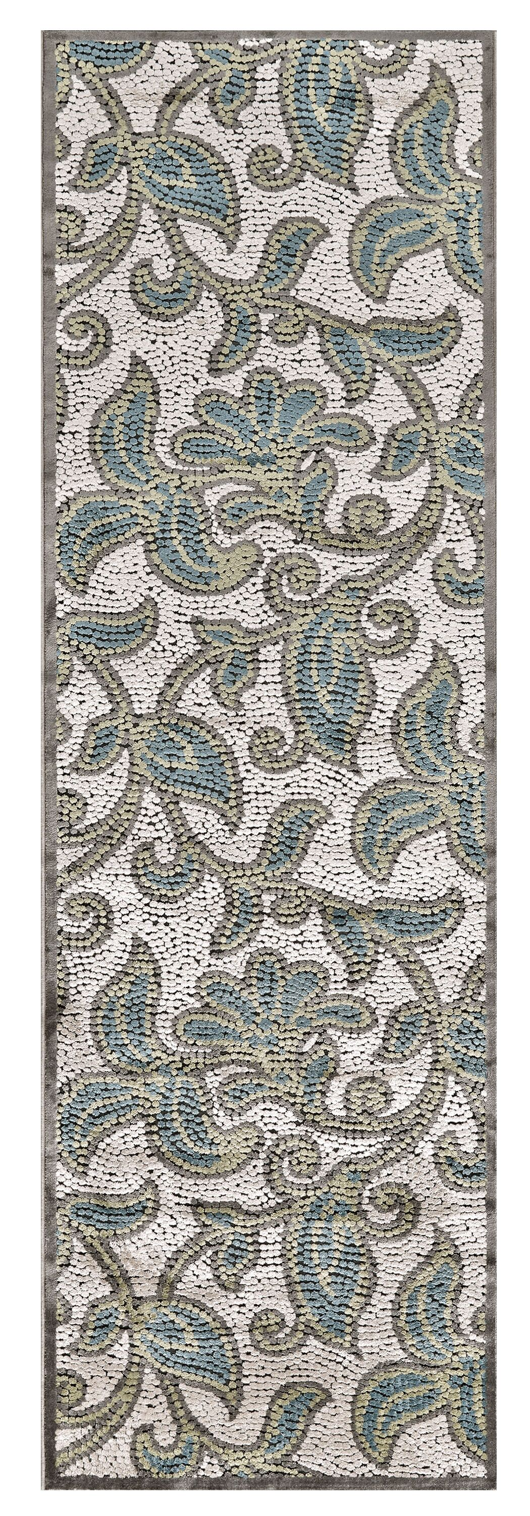 Snydertown Green/Grey Area Rug Rug Size: Runner 2'6
