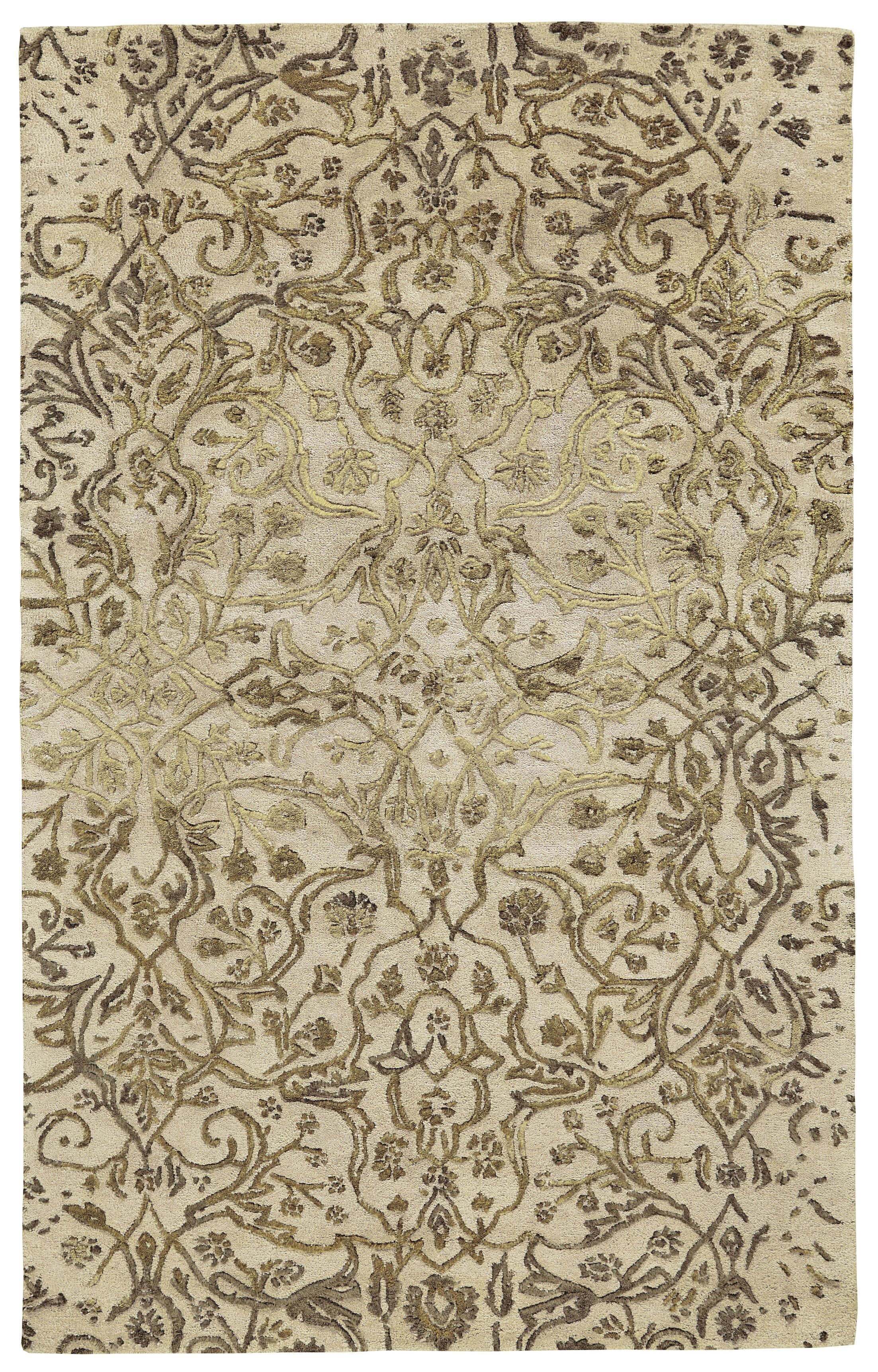 Southbury Wool Ivory/Gold Area Rug Rug Size: Rectangle 3'6