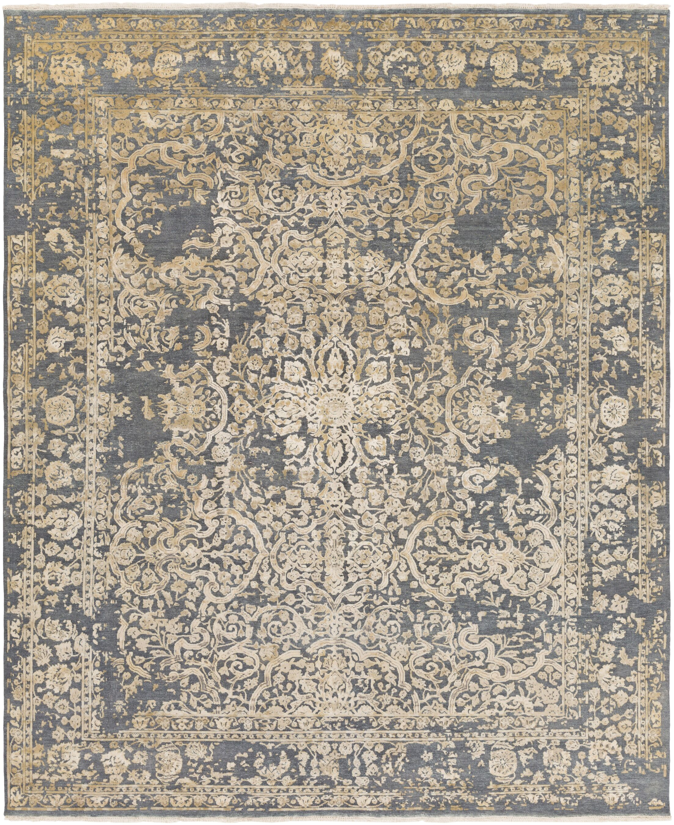 Hanrahan Hand-Knotted Gray/Beige Area Rug Rug Size: Rectangle 9' x 13'
