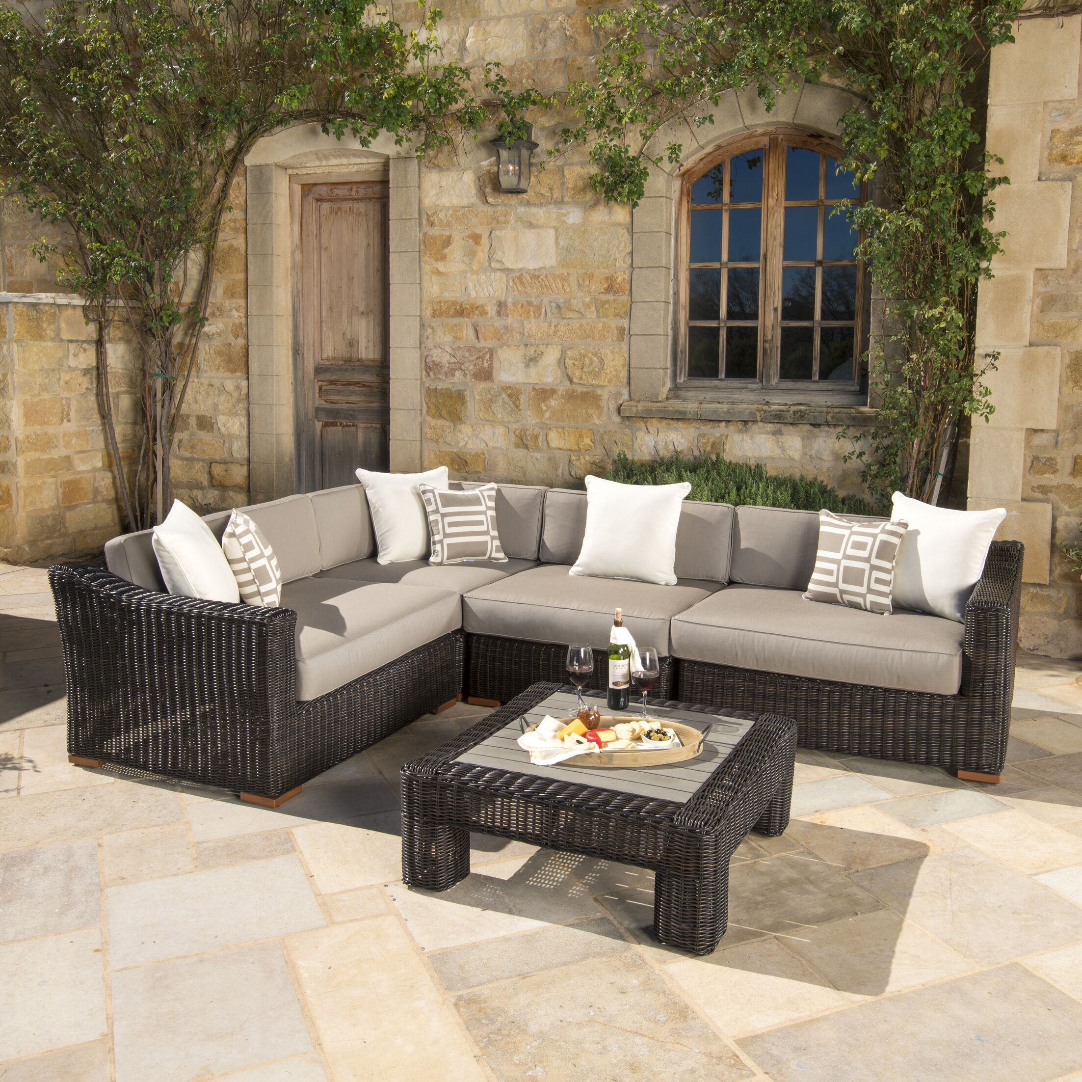 Monroeville 5 piece Sunbrella Sectional Set with Cushions Fabric: Frank Stone, Color: Espresso