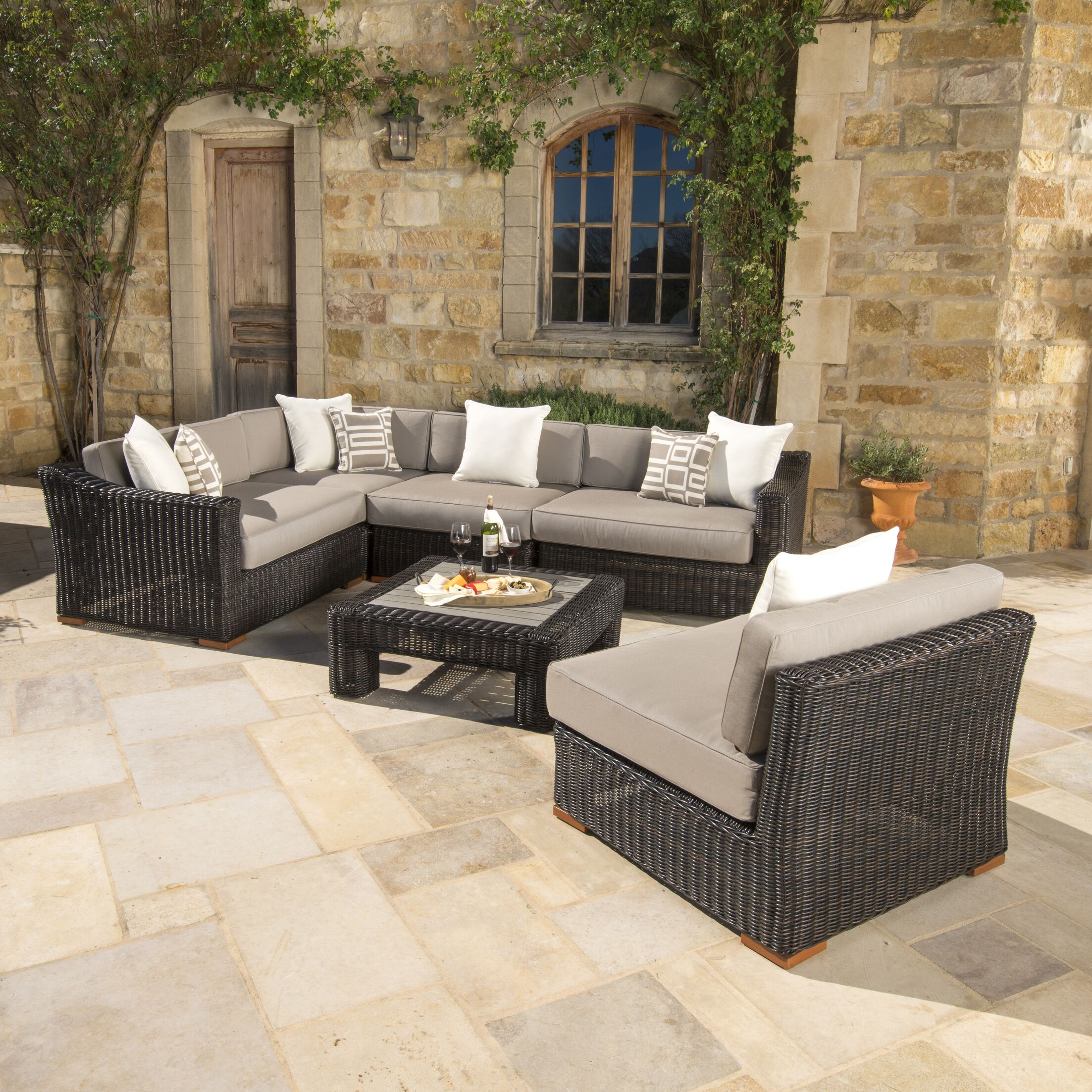 Monroeville 6 piece Sunbrella Sectional Set with Cushions Fabric: Frank Stone