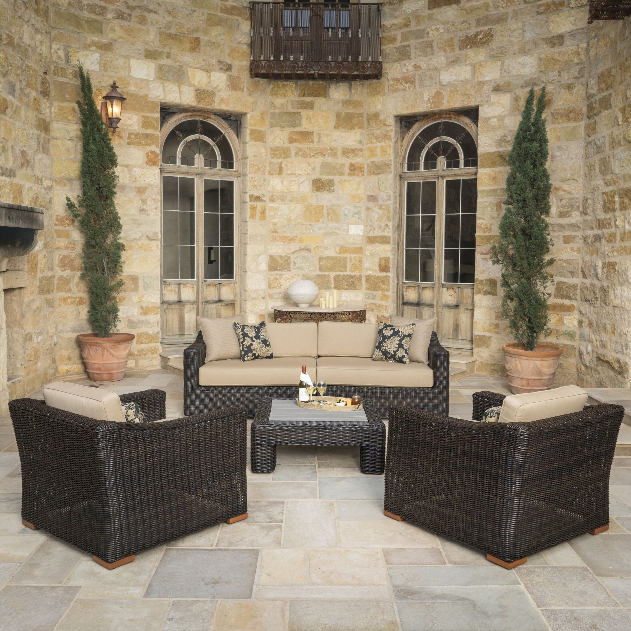 Monroeville 5 piece Sunbrella Sofa Set with Cushions Fabric: Frank Stone