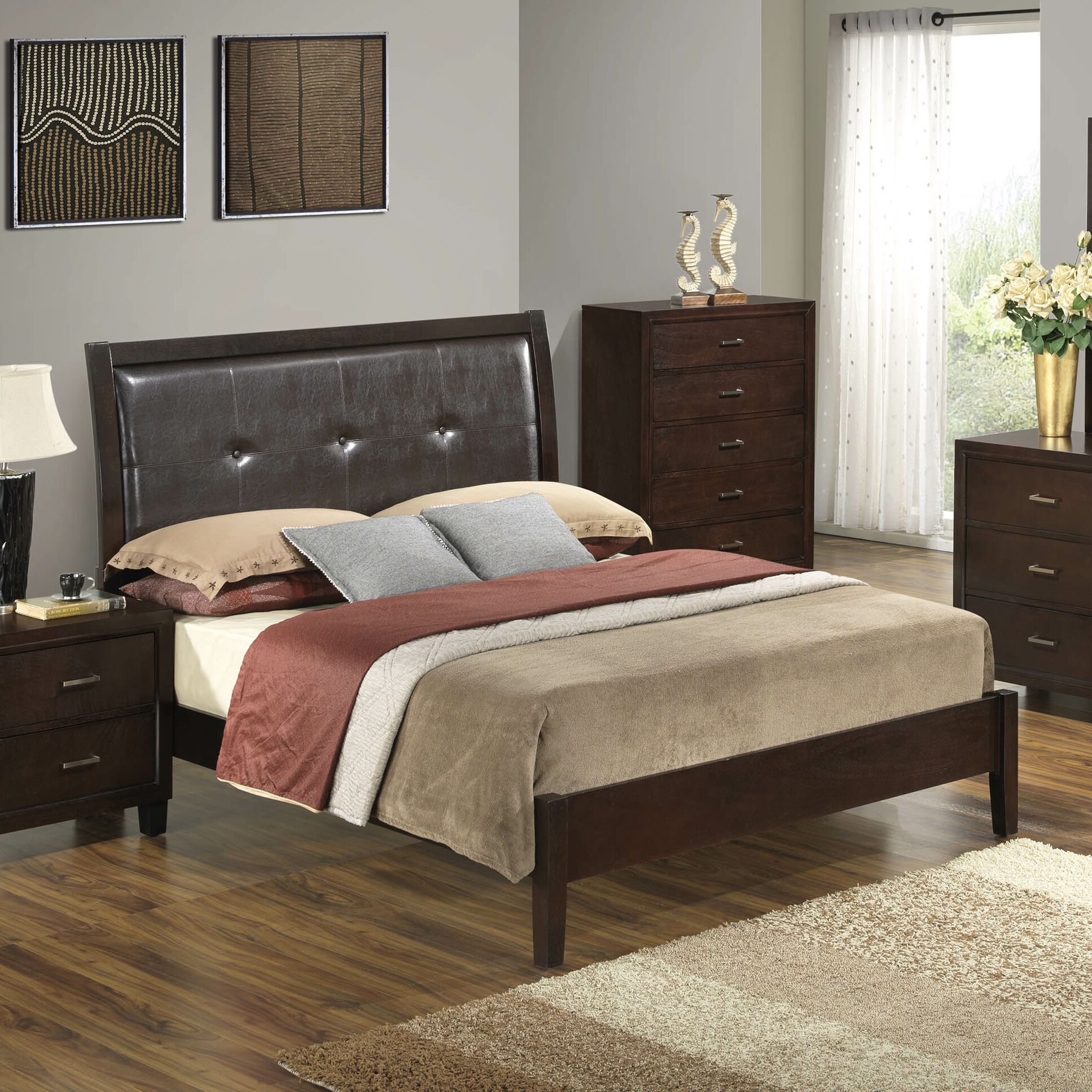 Hoytville Upholstered Panel Bed Color: Cherry, Size: King