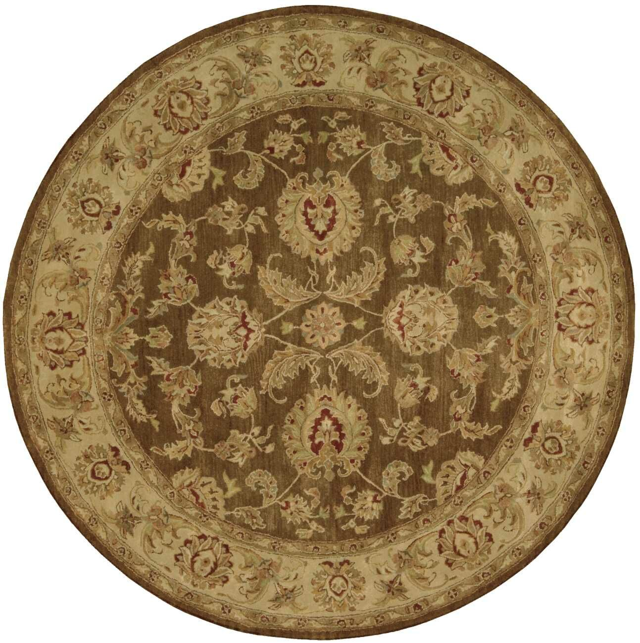 Delaware Hand-Tufted Brown Area Rug Rug Size: Round 6'
