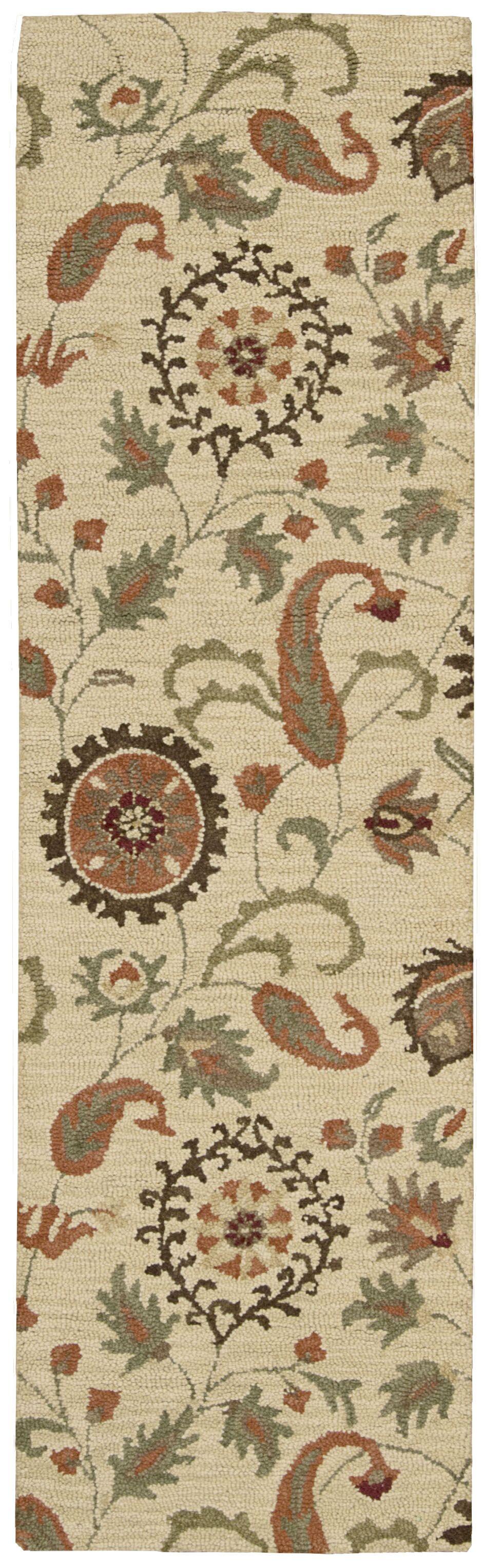 Langport Hand-Tufted Wool Beige Area Rug Rug Size: Runner 2'3