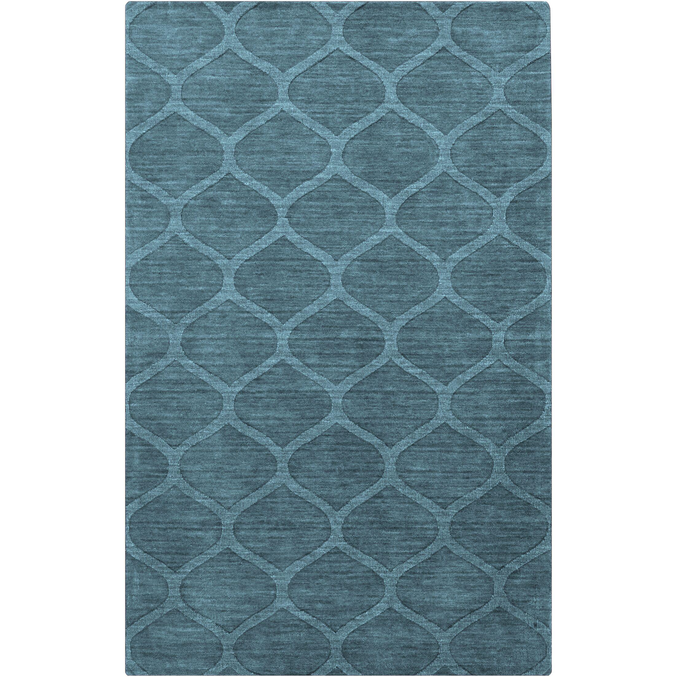 Loewen Hand-Loomed Teal Area Rug Rug Size: Rectangle 8' x 11'