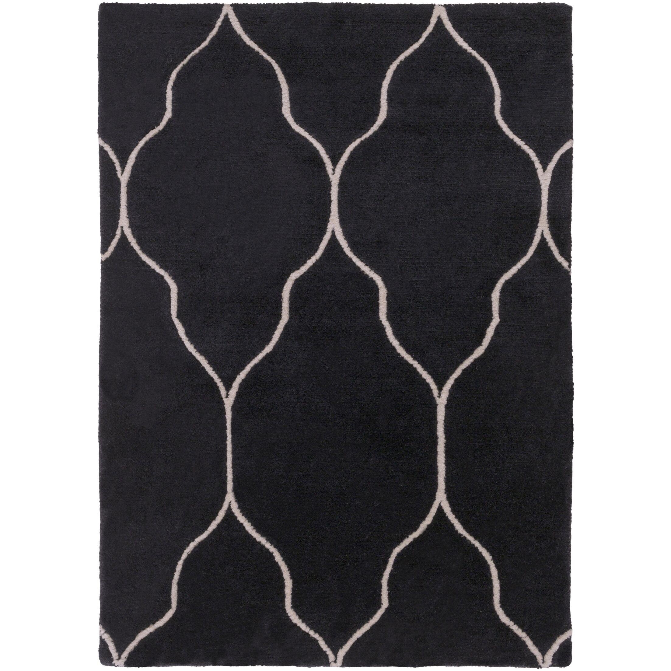 Moreton Hand-Knotted Black/Beige Area Rug Rug Size: Rectangle 9' x 13'