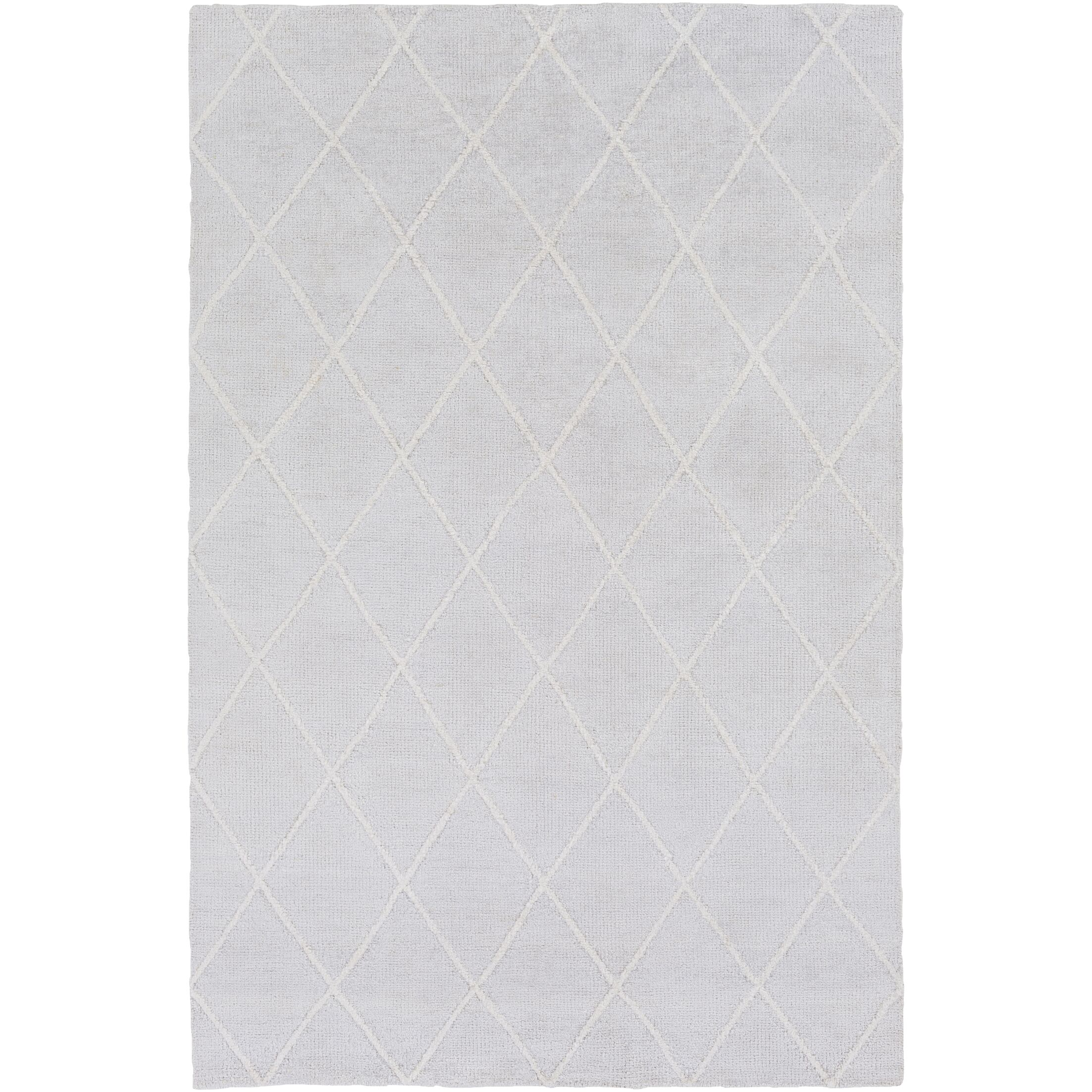 Parkstone Hand-Knotted Light Gray/Ivory Area Rug Rug Size: Rectangle 9' x 13'