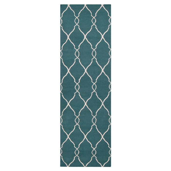 Findley Turquoise/Ivory Area Rug Rug Size: Runner 2'6