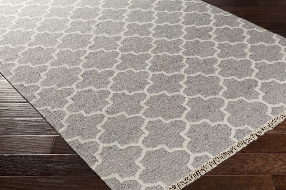 Palladio Hand-Woven Gray/White Area Rug Rug Size: Rectangle 5' x 7'6
