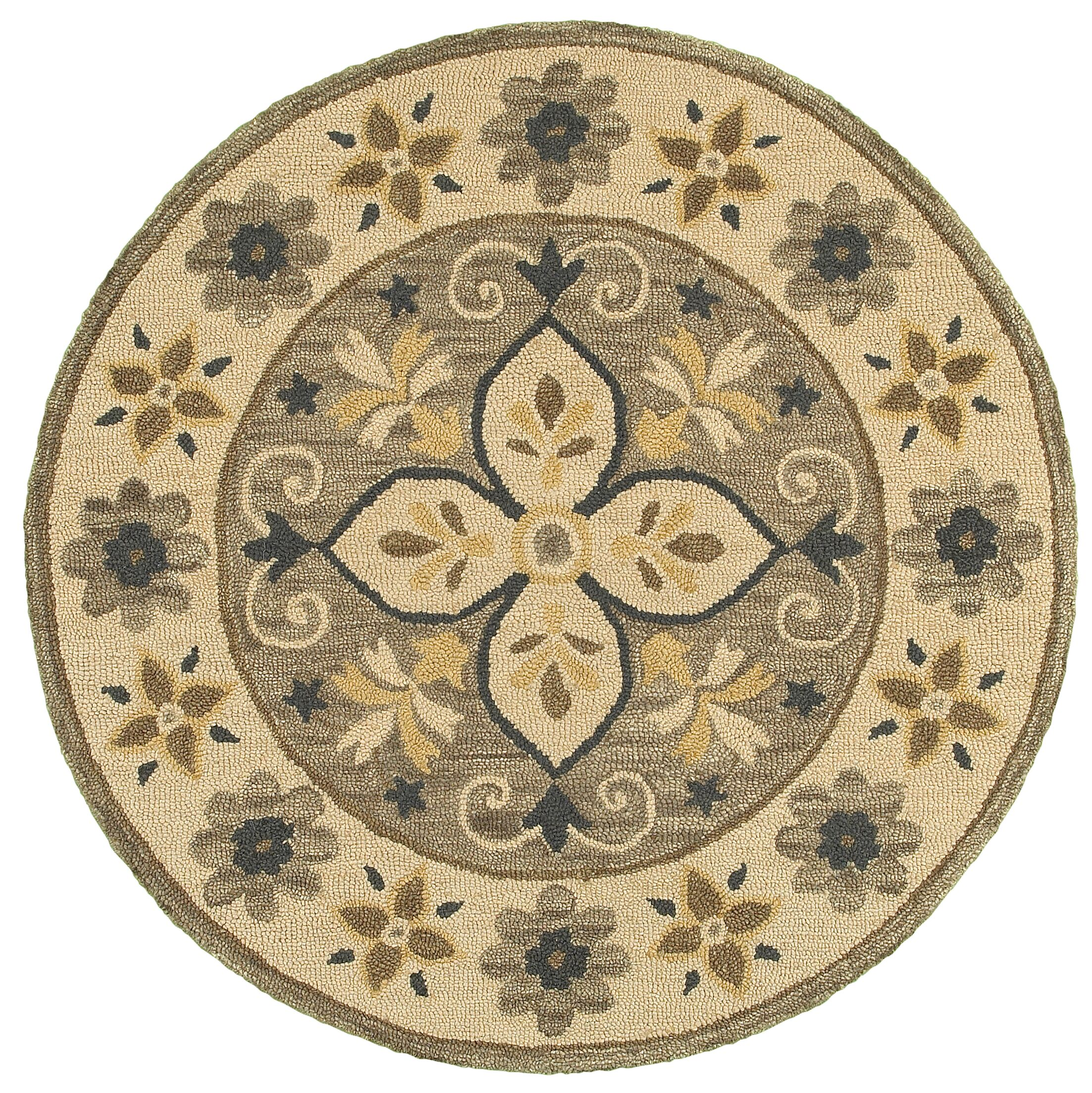 Owensboro Hand-Tufted Taupe Area Rug Rug Size: Round 6'