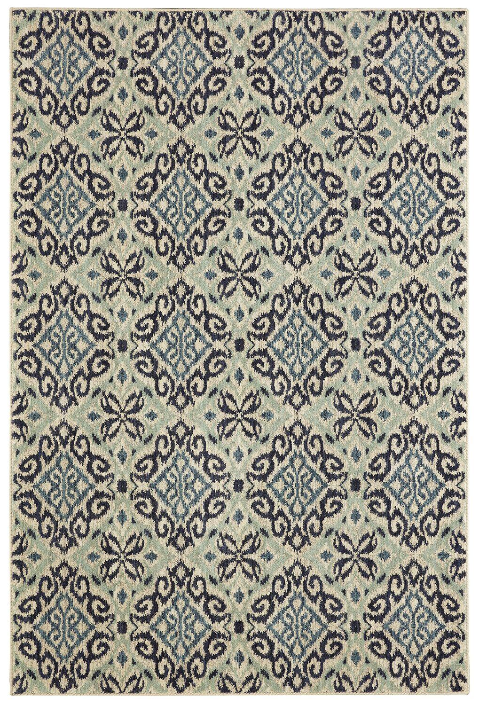 Lakemont Machine Woven Wool Gray/Aqua Area Rug Rug Size: Rectangle 8' x 10'
