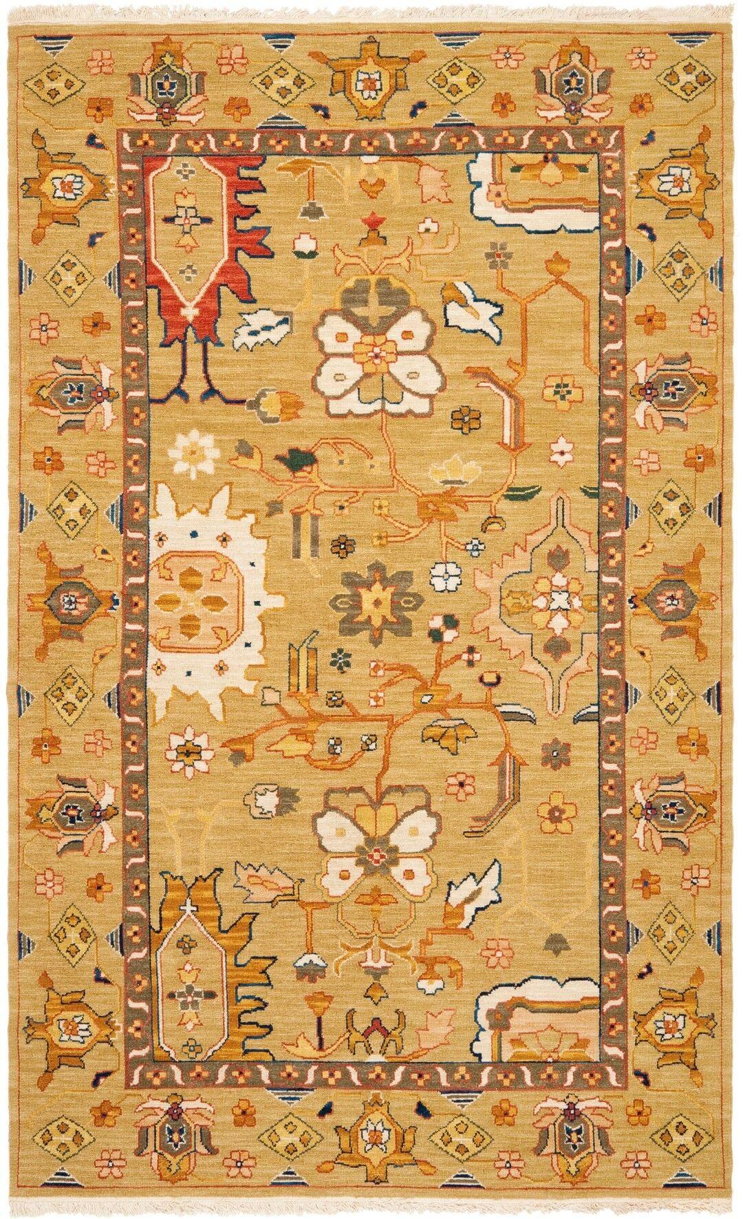 Linwood Hand-Woven Wool Orange Area Rug Rug Size: Rectangle 5' x 8'