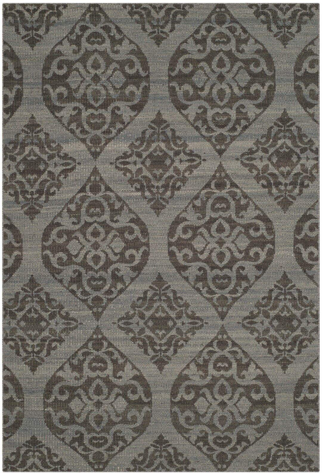 Jacobson Hand-Woven Dark Gray Area Rug Rug Size: Rectangle 4' x 6'