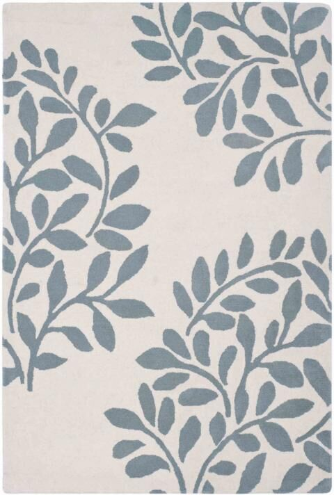 Leaf Stamp Hand-Loomed Tan/Blue Area Rug Rug Size: Rectangle 9' x 12'