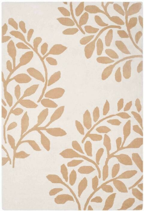 Leaf Stamp Hand-Loomed Tan/Brown Area Rug Rug Size: Rectangle 5' x 8'