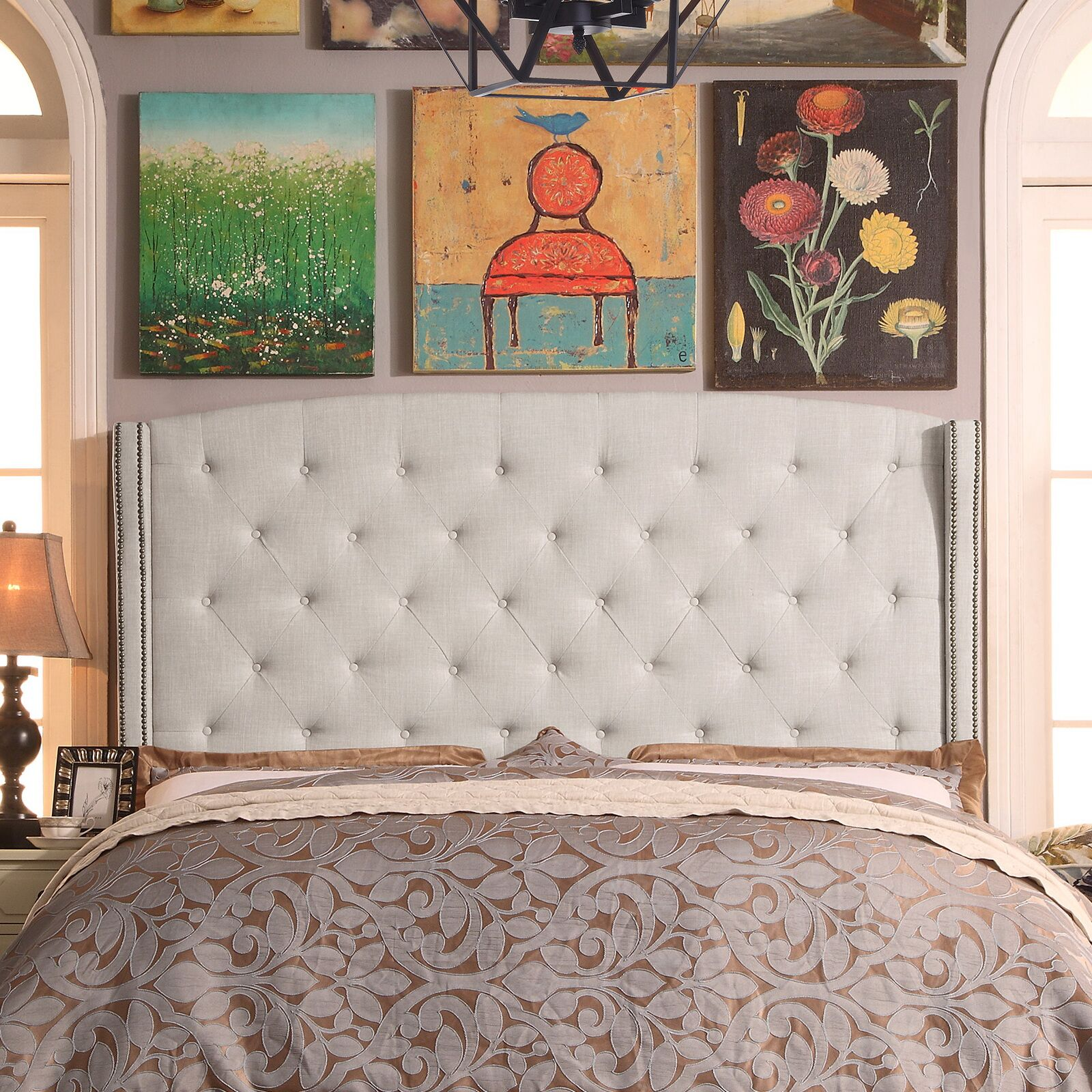 Destiny Upholstered Wingback Headboard Upholstery: Beige, Size: Queen
