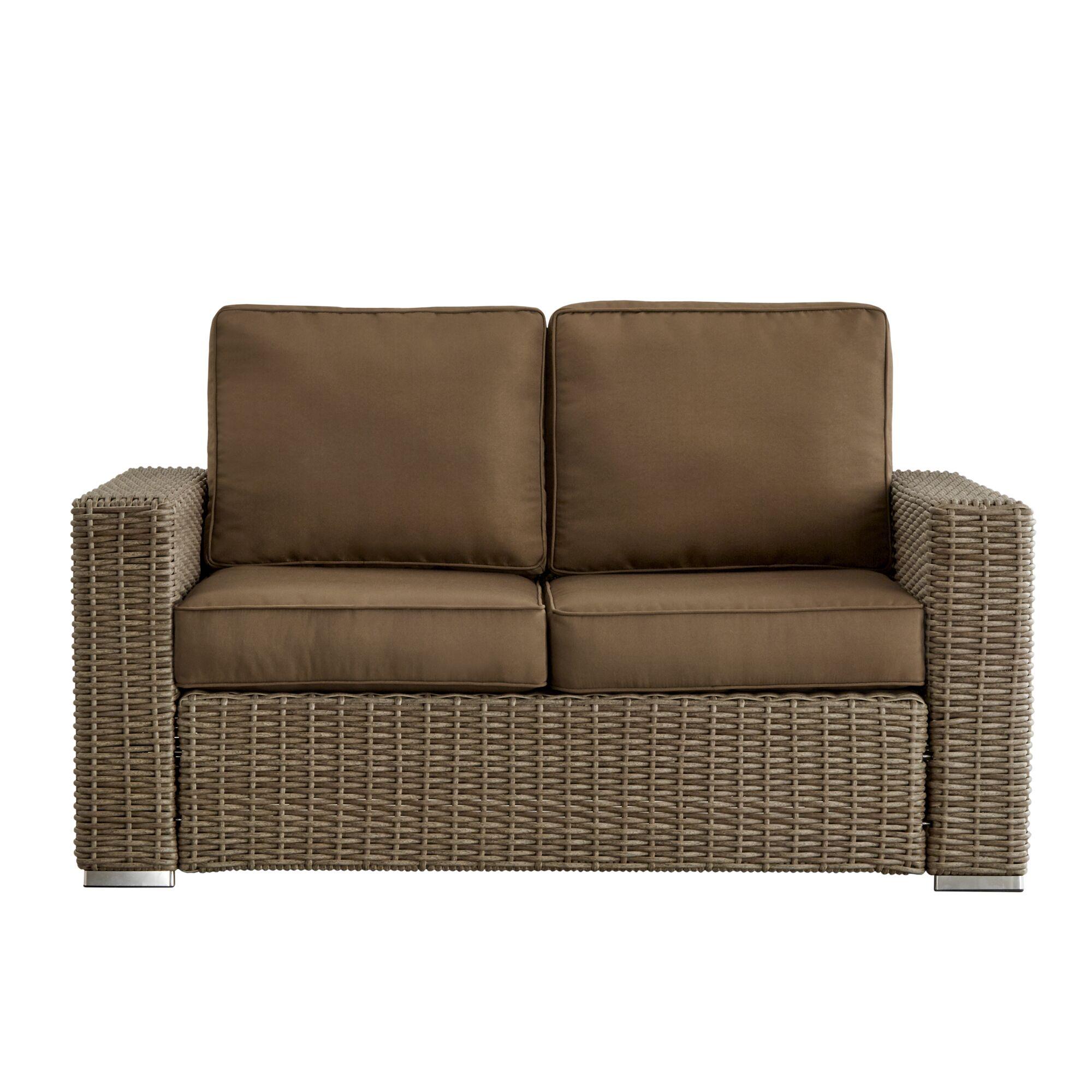 Rathdowney Loveseat with Cushions Fabric: Spa Blue, Finish: Mocha