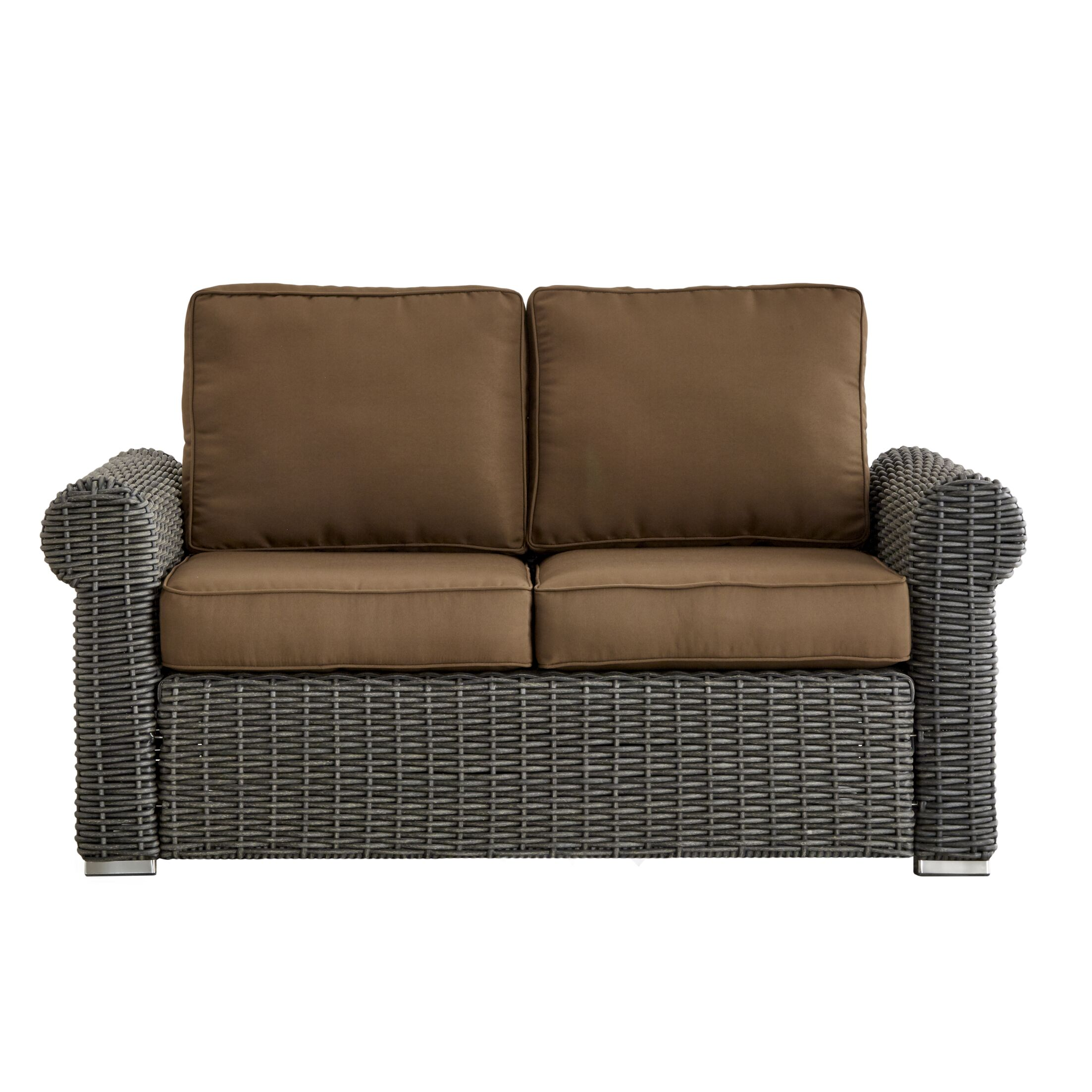 Rathdowney Loveseat with Cushions Fabric: Brown, Finish: Mocha
