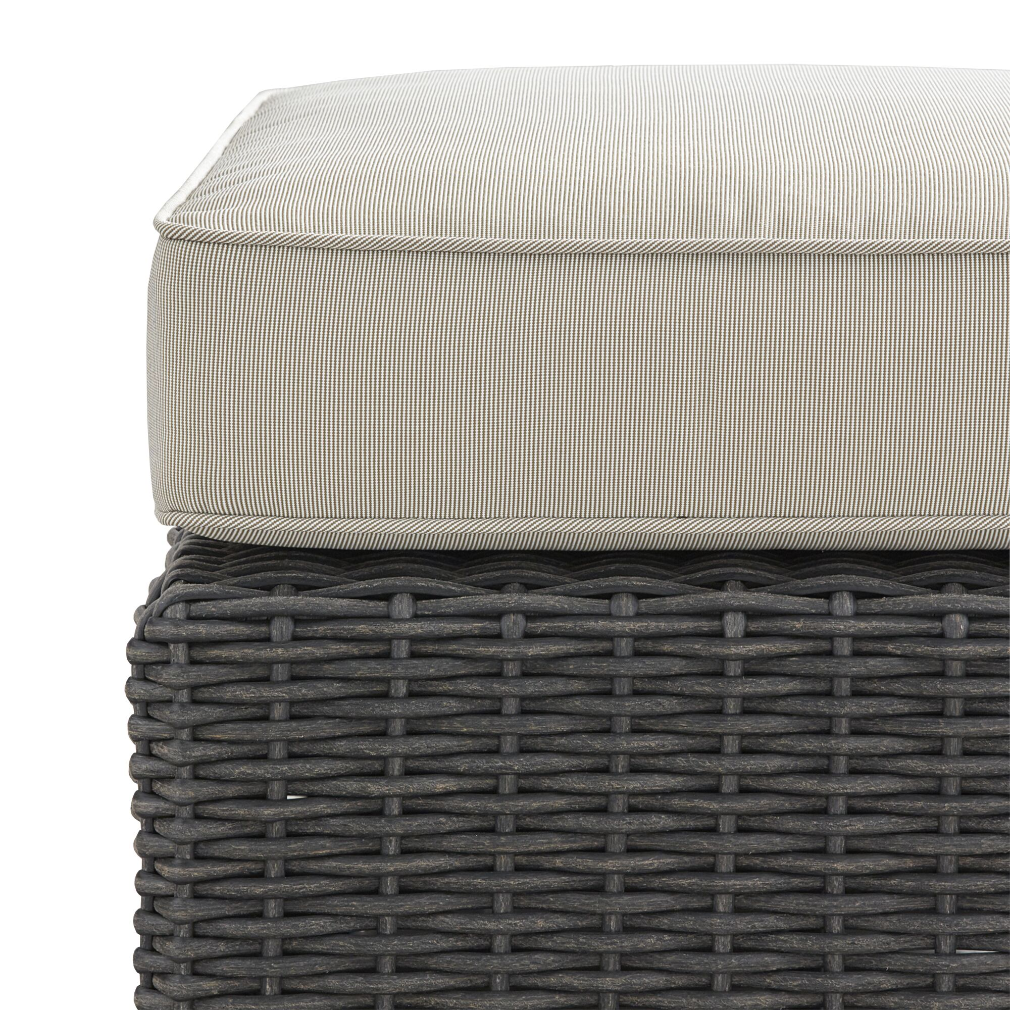 Rathdowney Ottoman with Cushion Fabric: Beige, Finish: Charcoal