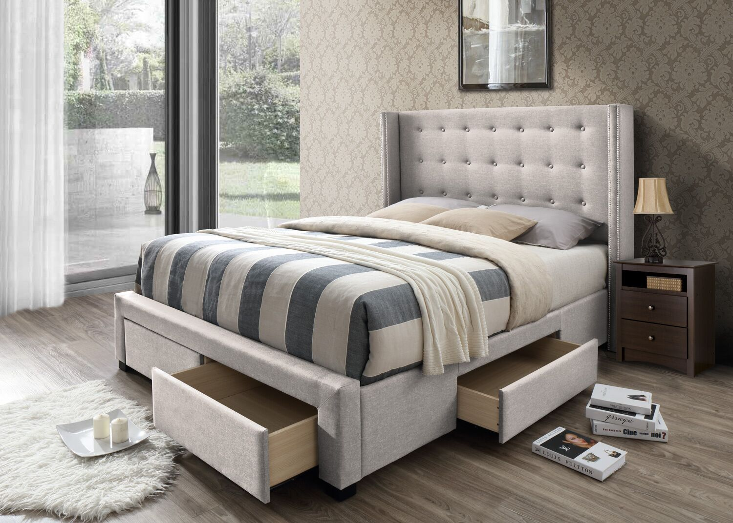 Kerens Llanes Savoy Upholstered Storage Panel Bed Size: Queen, Color: Walnut